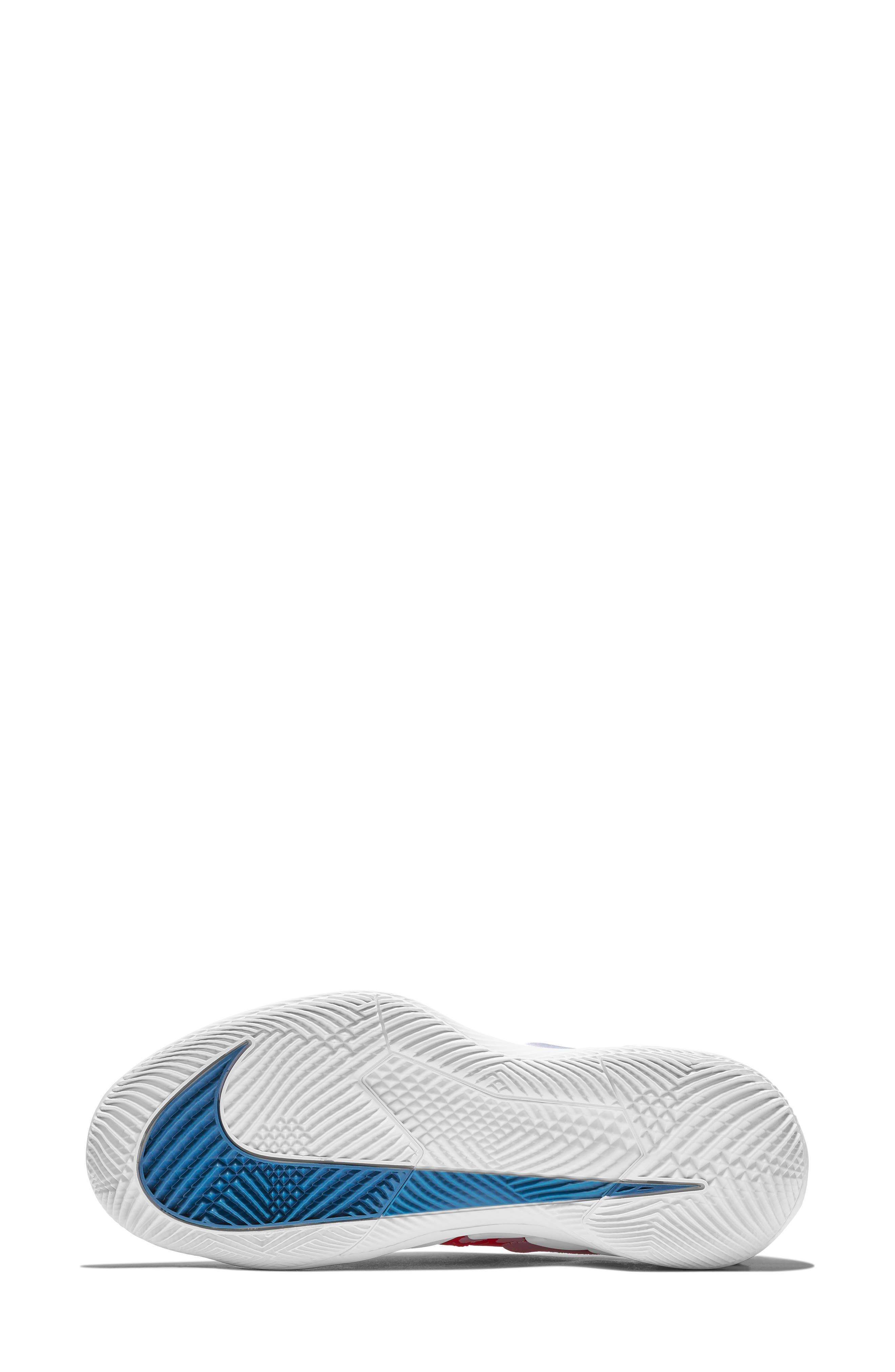 Air Zoom Vapor X Tennis Shoe,                             Alternate thumbnail 5, color,                             BRIGHT CRIMSON/ WHITE- BLUE