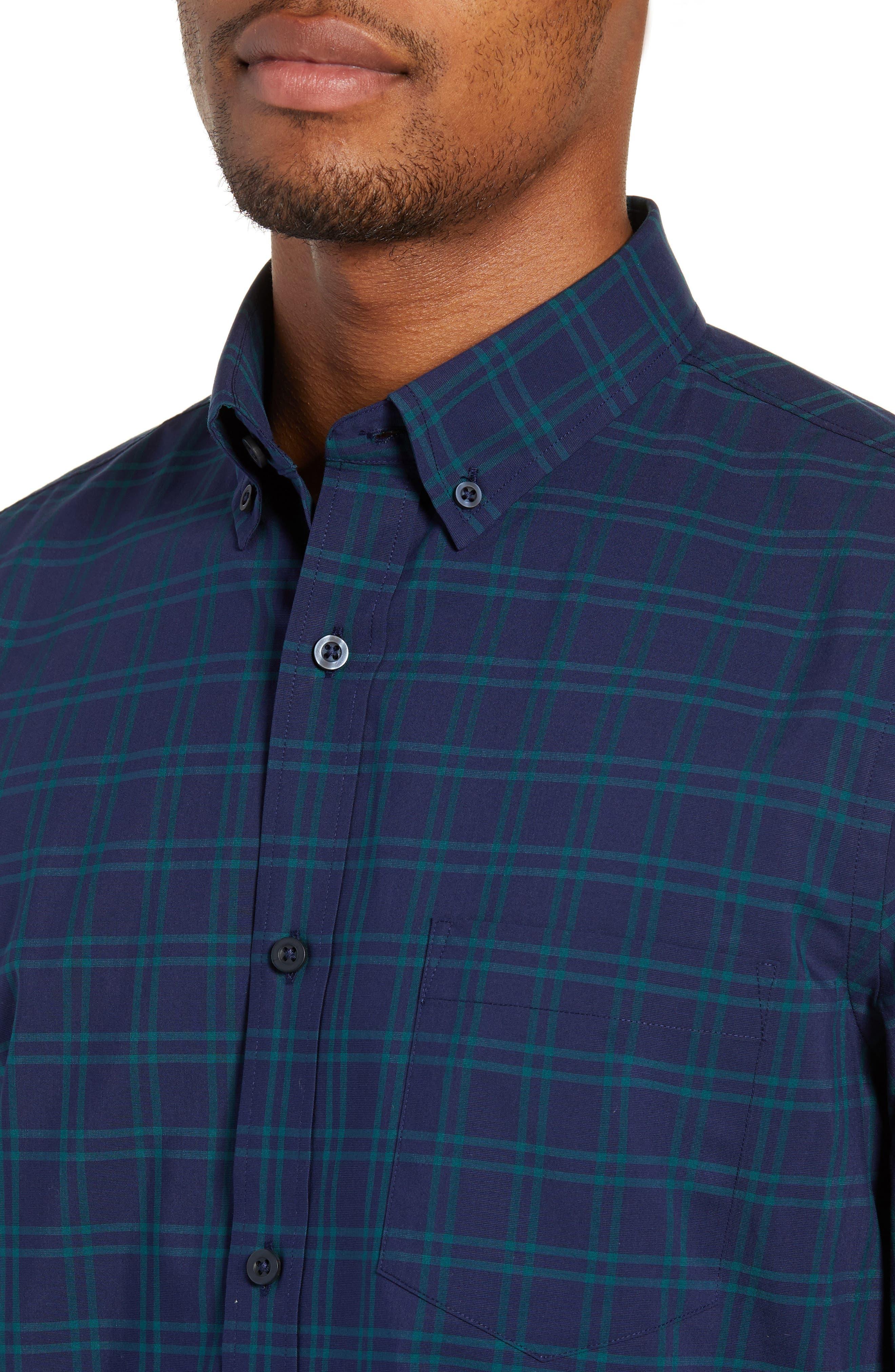 NORDSTROM MEN'S SHOP,                             Tech-Smart Slim Fit Check Sport Shirt,                             Alternate thumbnail 4, color,                             NAVY IRIS TEAL WINDOWPANE