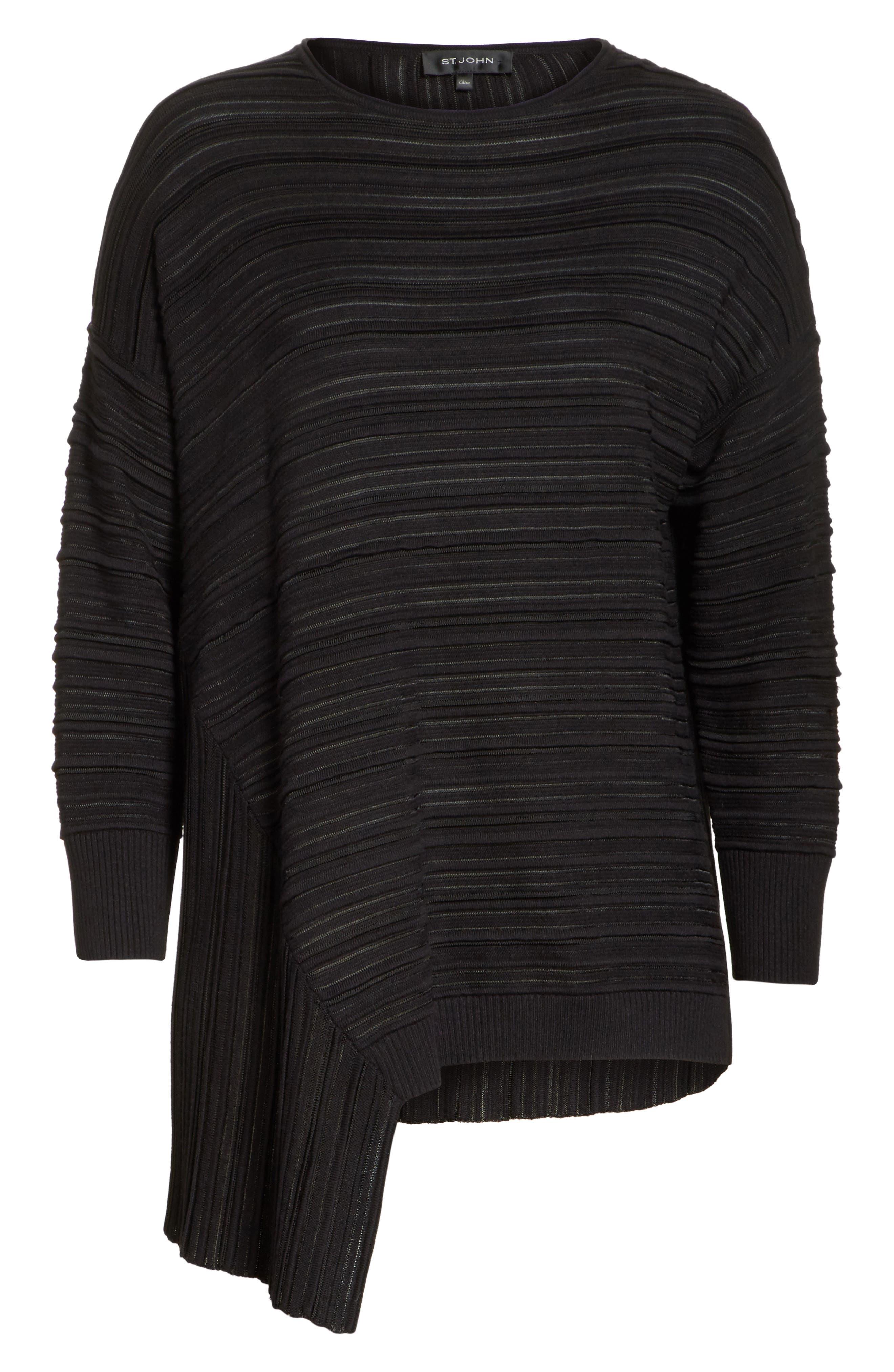 Knit Asymmetrical Sweater,                             Alternate thumbnail 7, color,                             CAVIAR