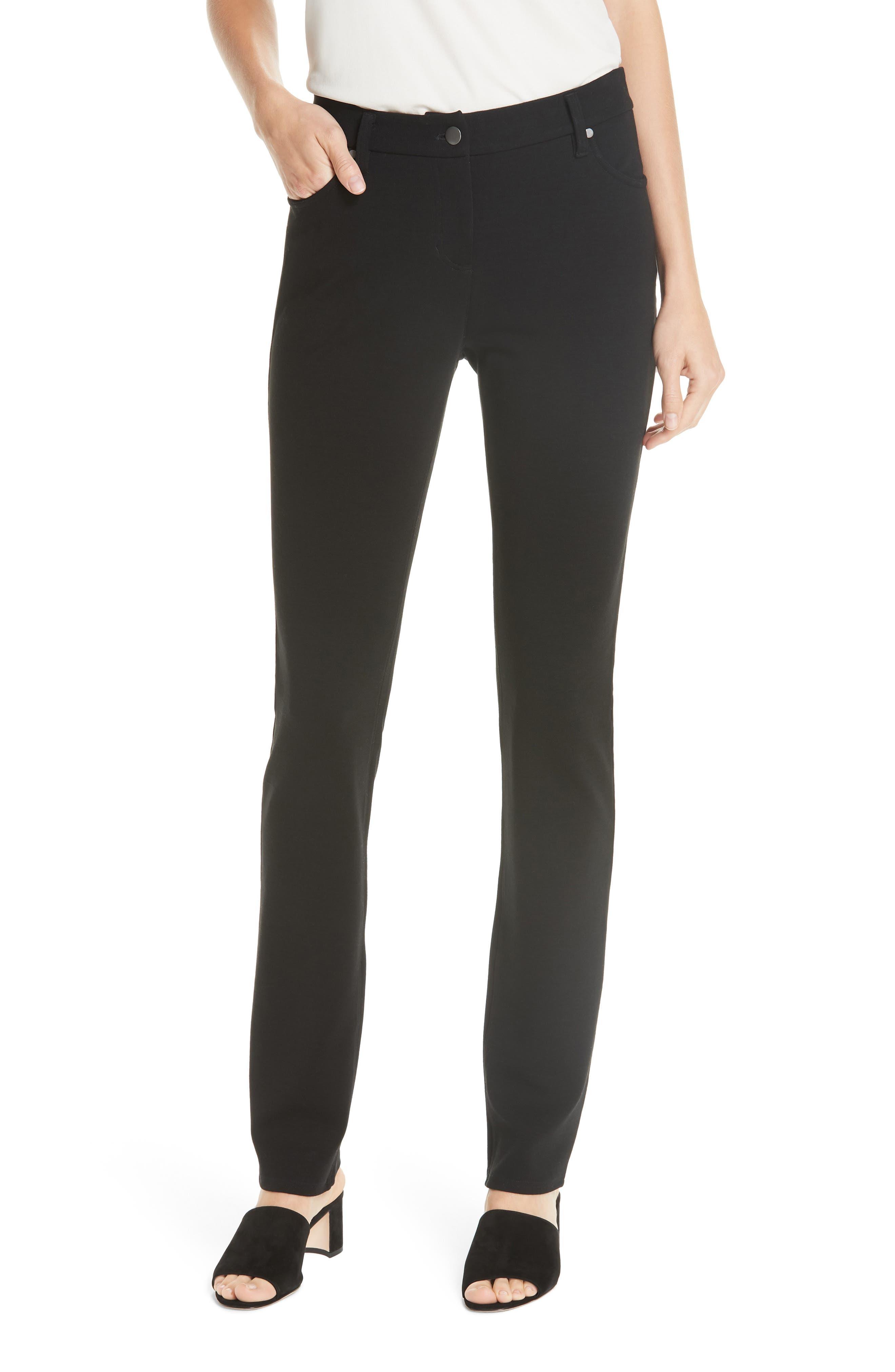 women's eileen fisher ponte knit skinny pants, size 0 - black