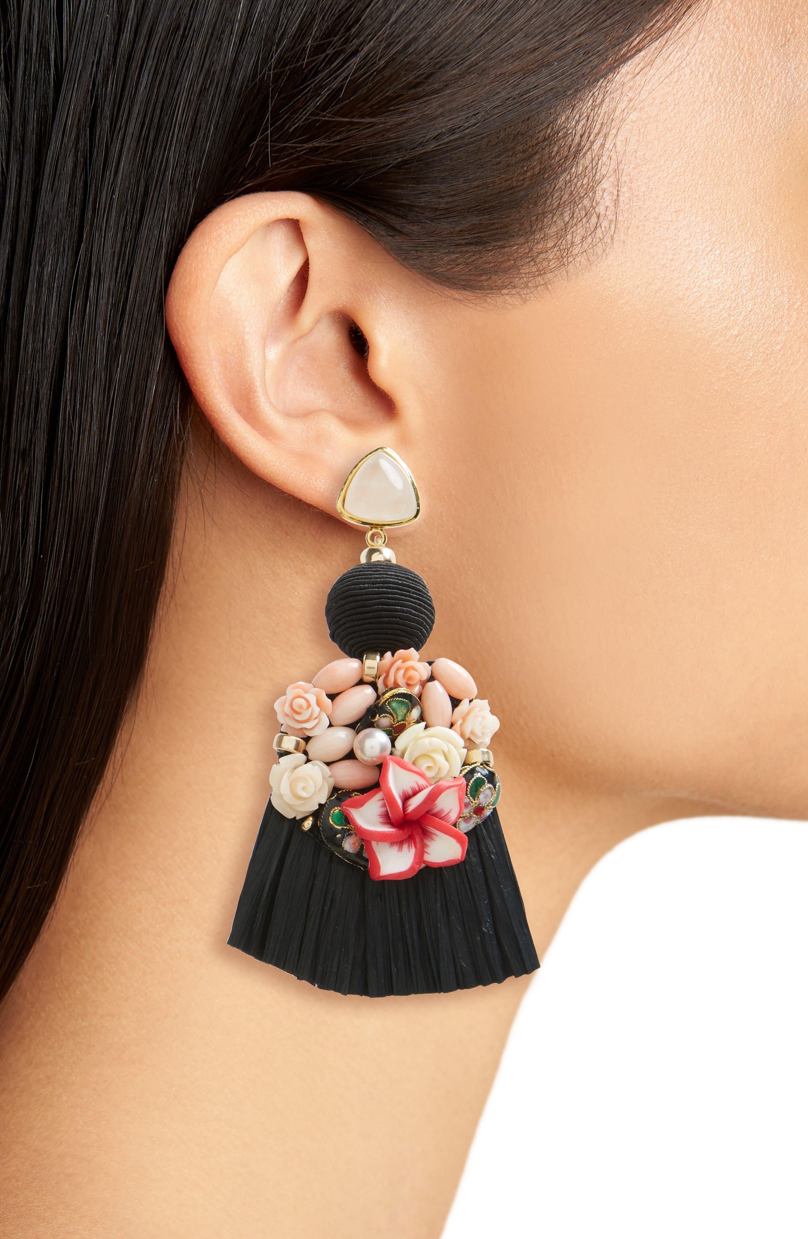 Dolce Vita Tassel Drop Earrings,                             Alternate thumbnail 2, color,                             BLACK MULTI