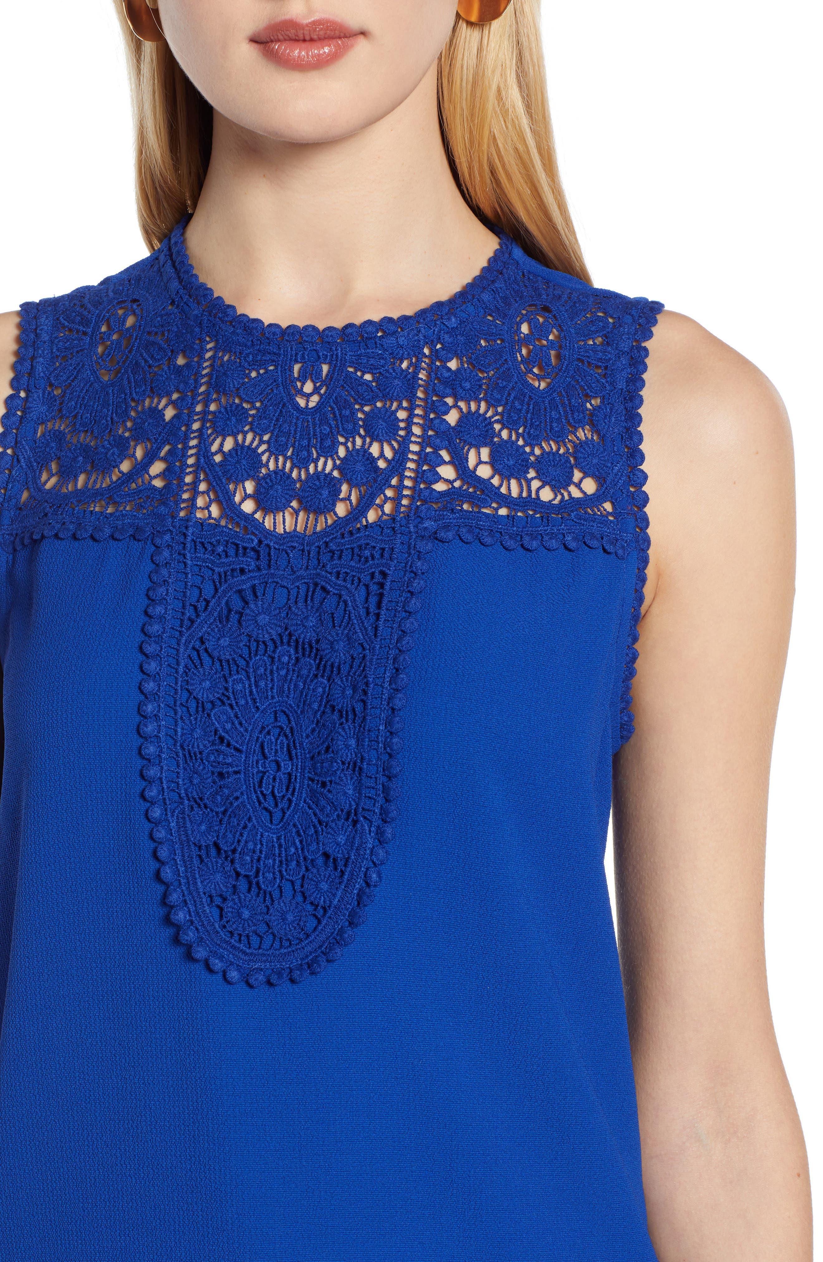 HALOGEN<SUP>®</SUP>, Lace & Crepe Top, Alternate thumbnail 5, color, ROYAL BLUE