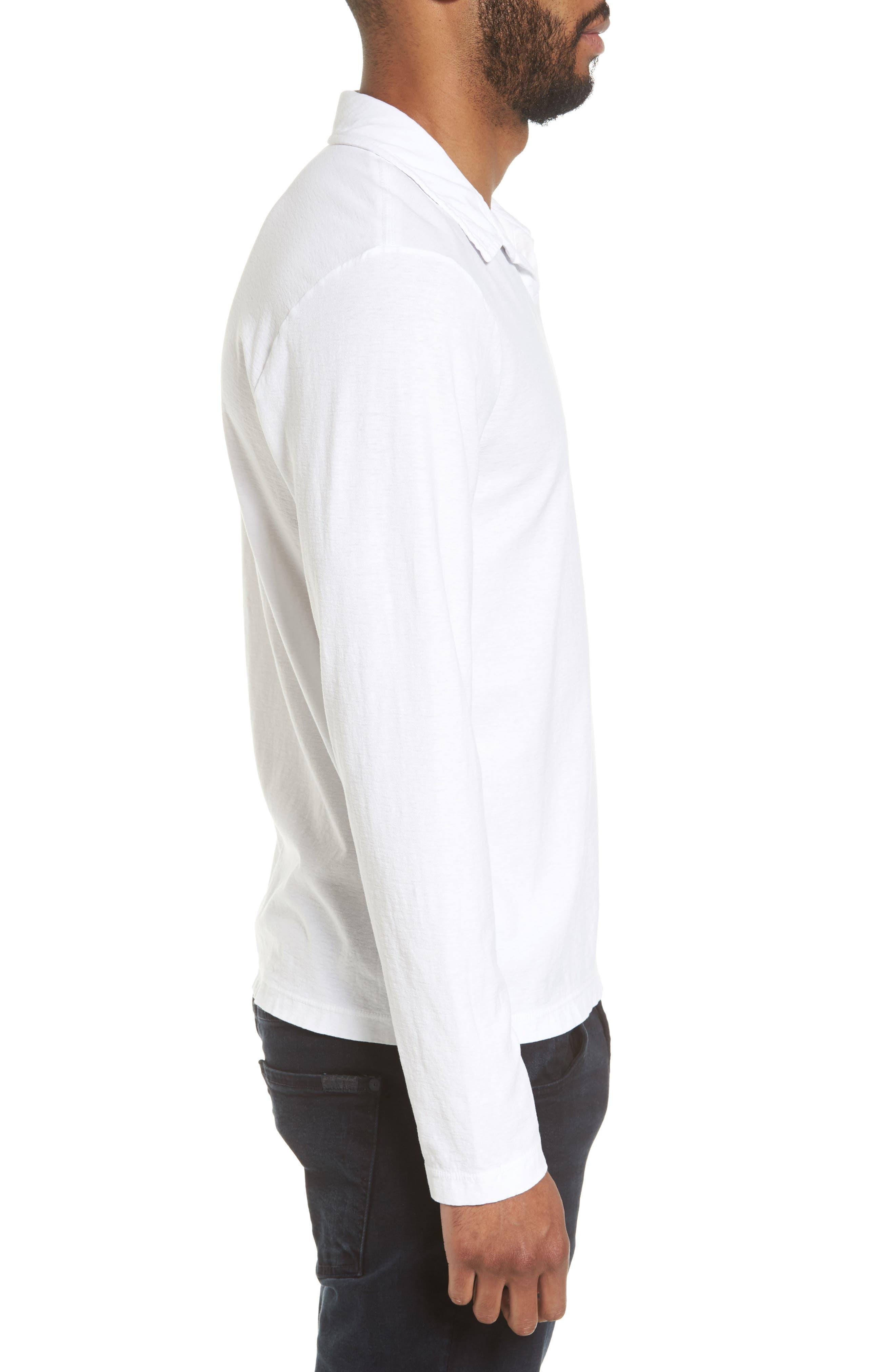 Long Sleeve Cotton Polo,                             Alternate thumbnail 3, color,                             100