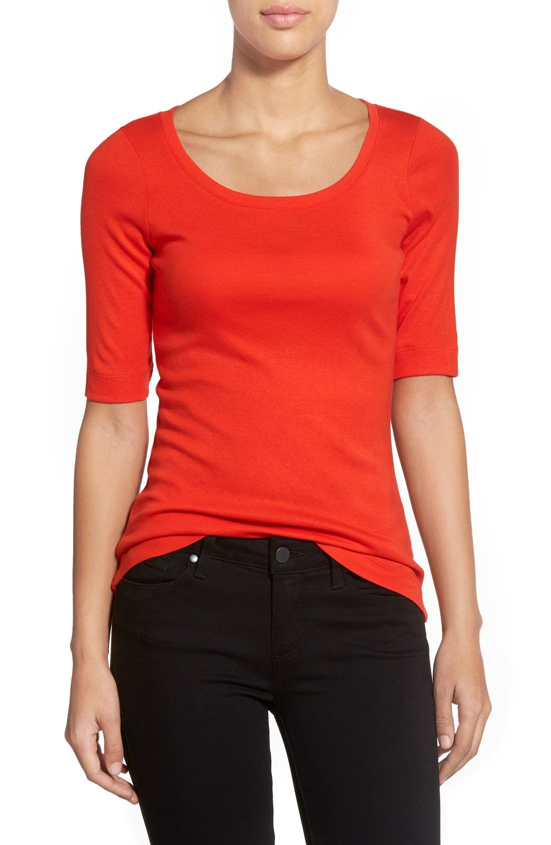 Ballet Neck Cotton & Modal Knit Elbow Sleeve Tee,                             Main thumbnail 41, color,