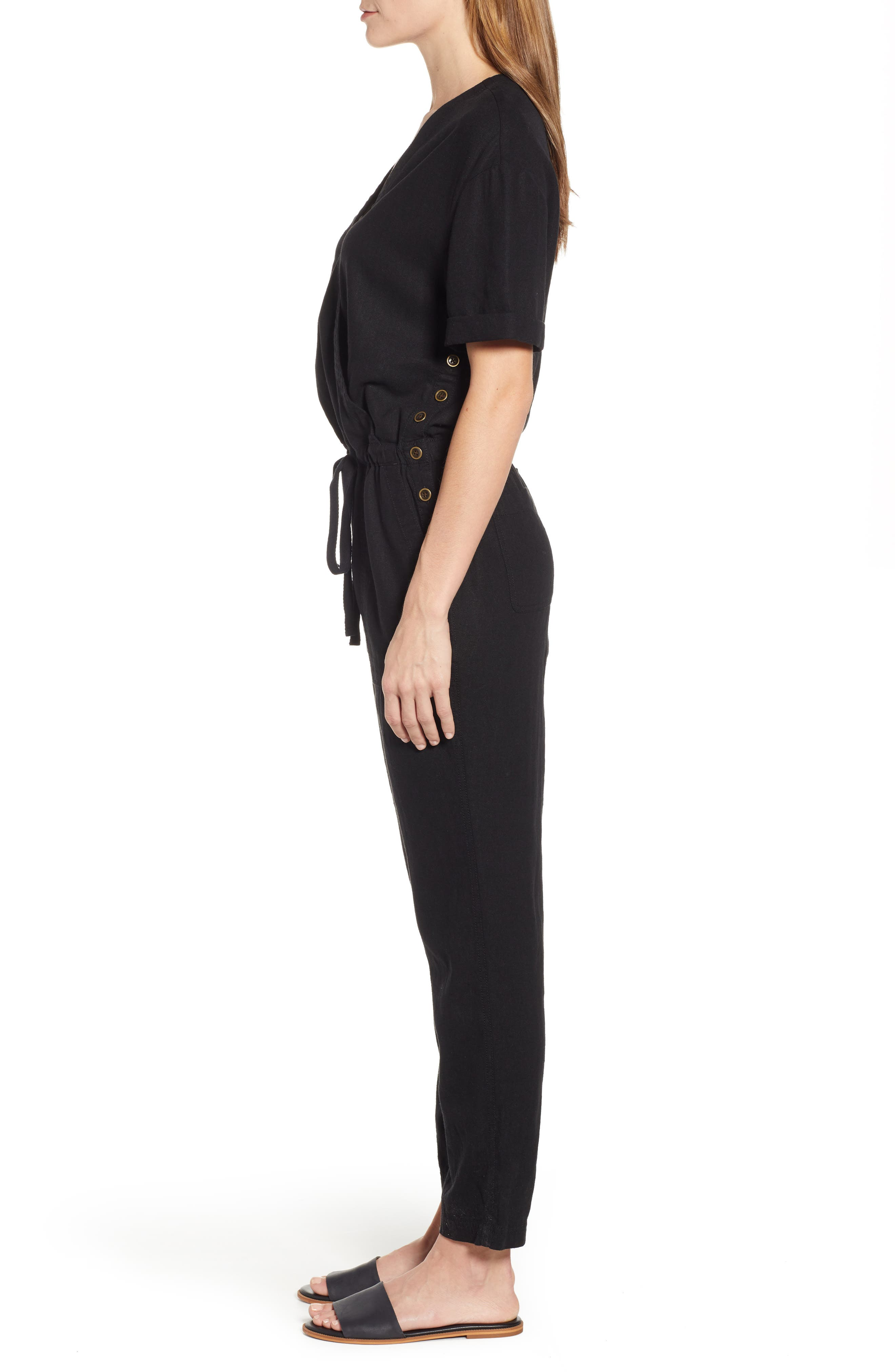 CASLON<SUP>®</SUP>,                             Faux Wrap Jumpsuit,                             Alternate thumbnail 3, color,                             BLACK