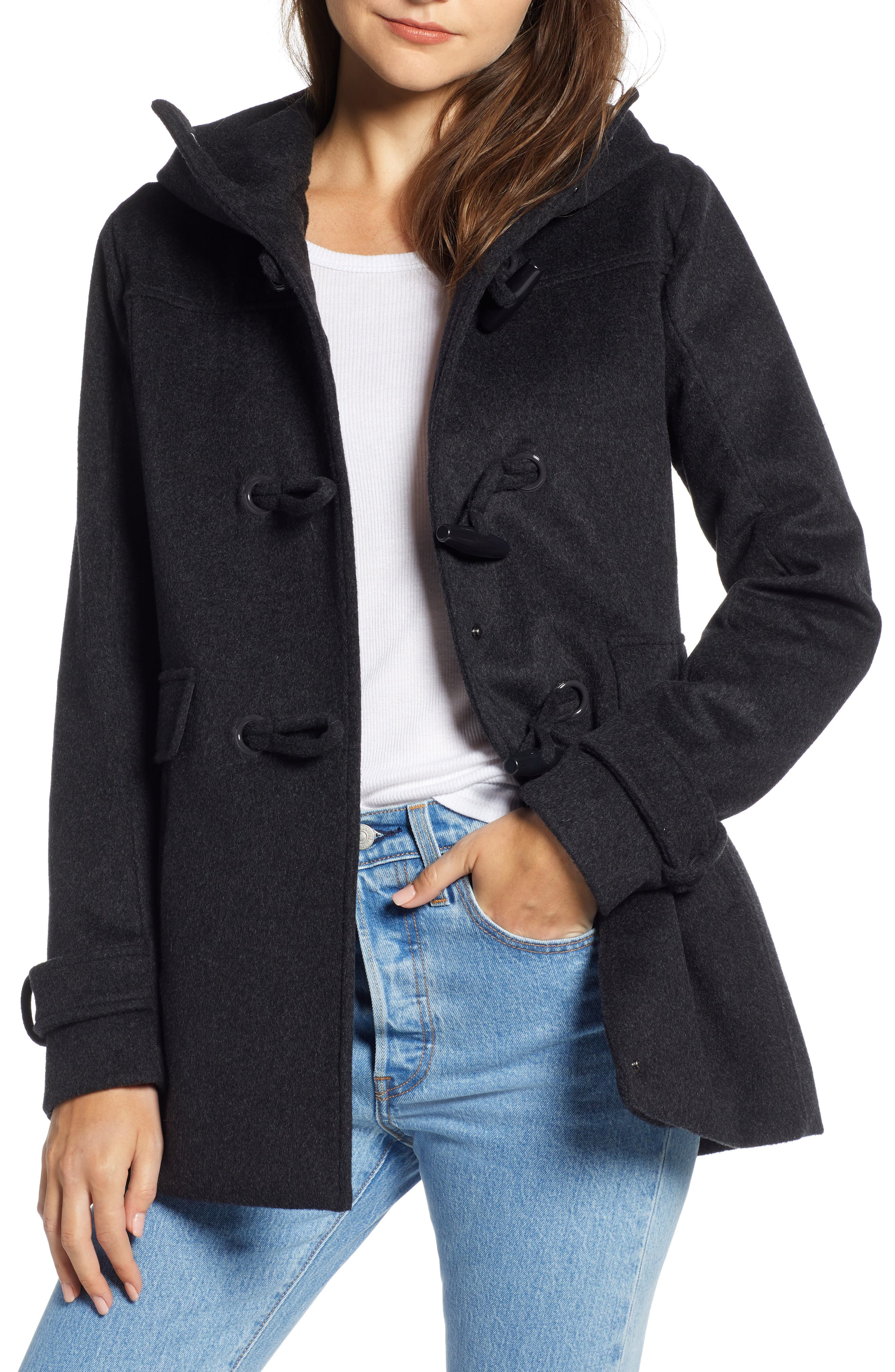 Roslyn Waterproof Lambswool Blend Hooded Coat,                             Main thumbnail 1, color,                             CHARCOAL