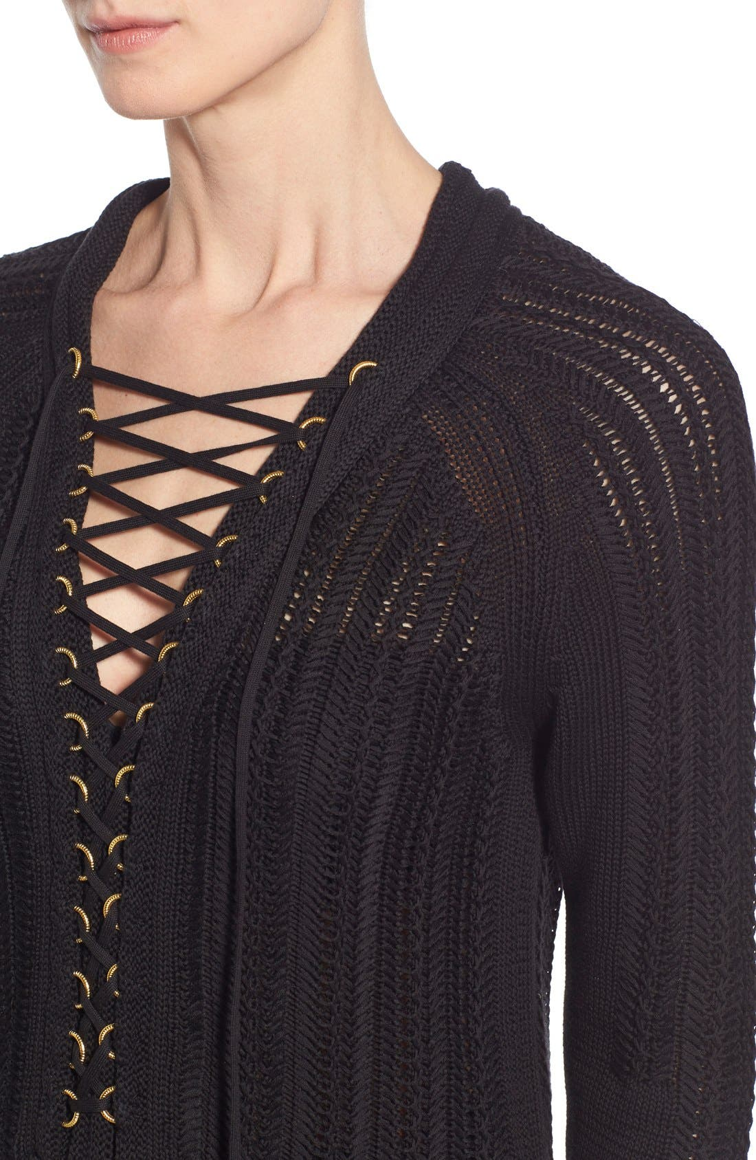 'Daria' Lace Up Textured V-Neck Sweater,                             Alternate thumbnail 3, color,                             001