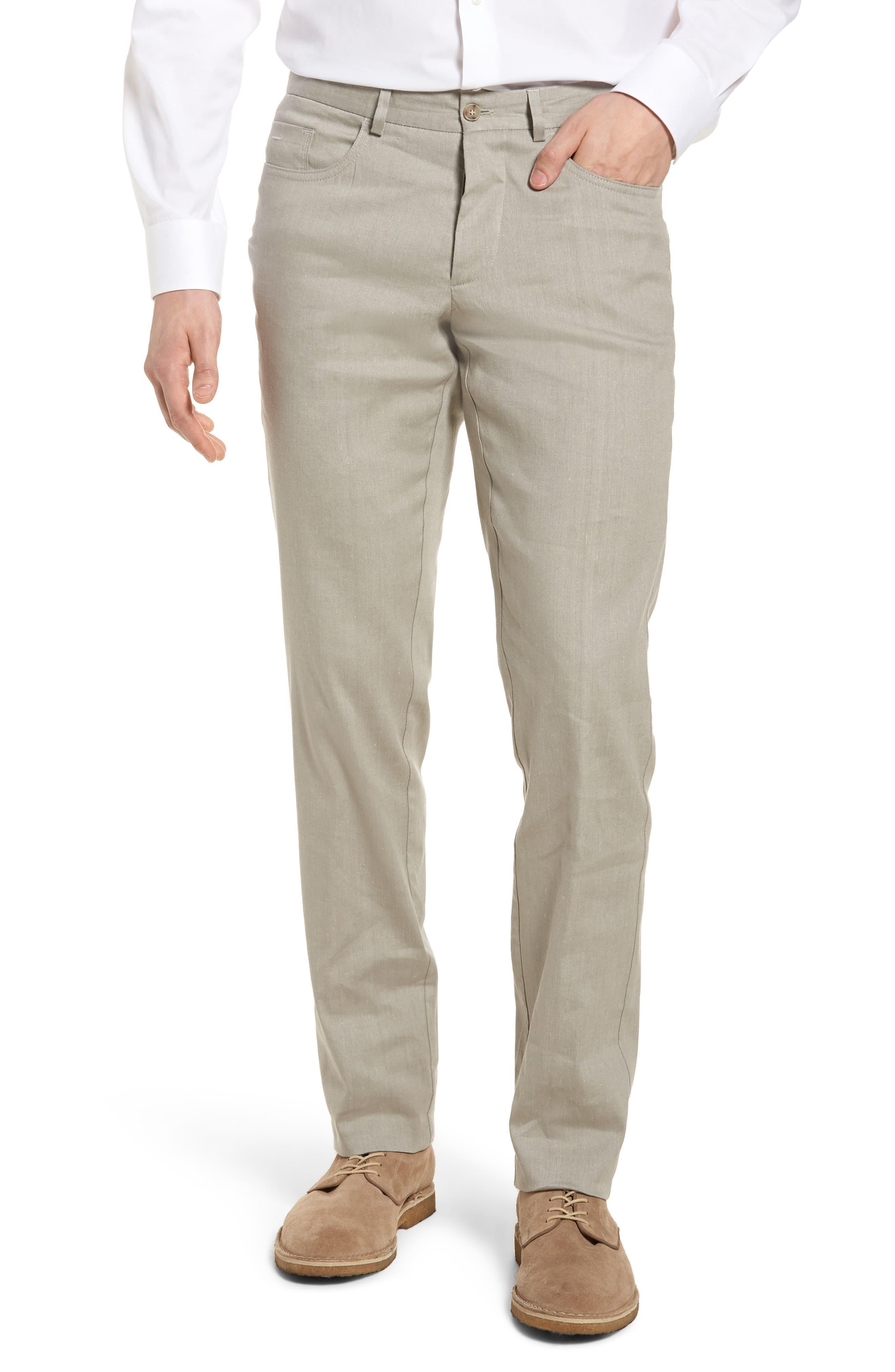 Flat Front Stretch Linen & Cotton Trousers,                         Main,                         color, 050
