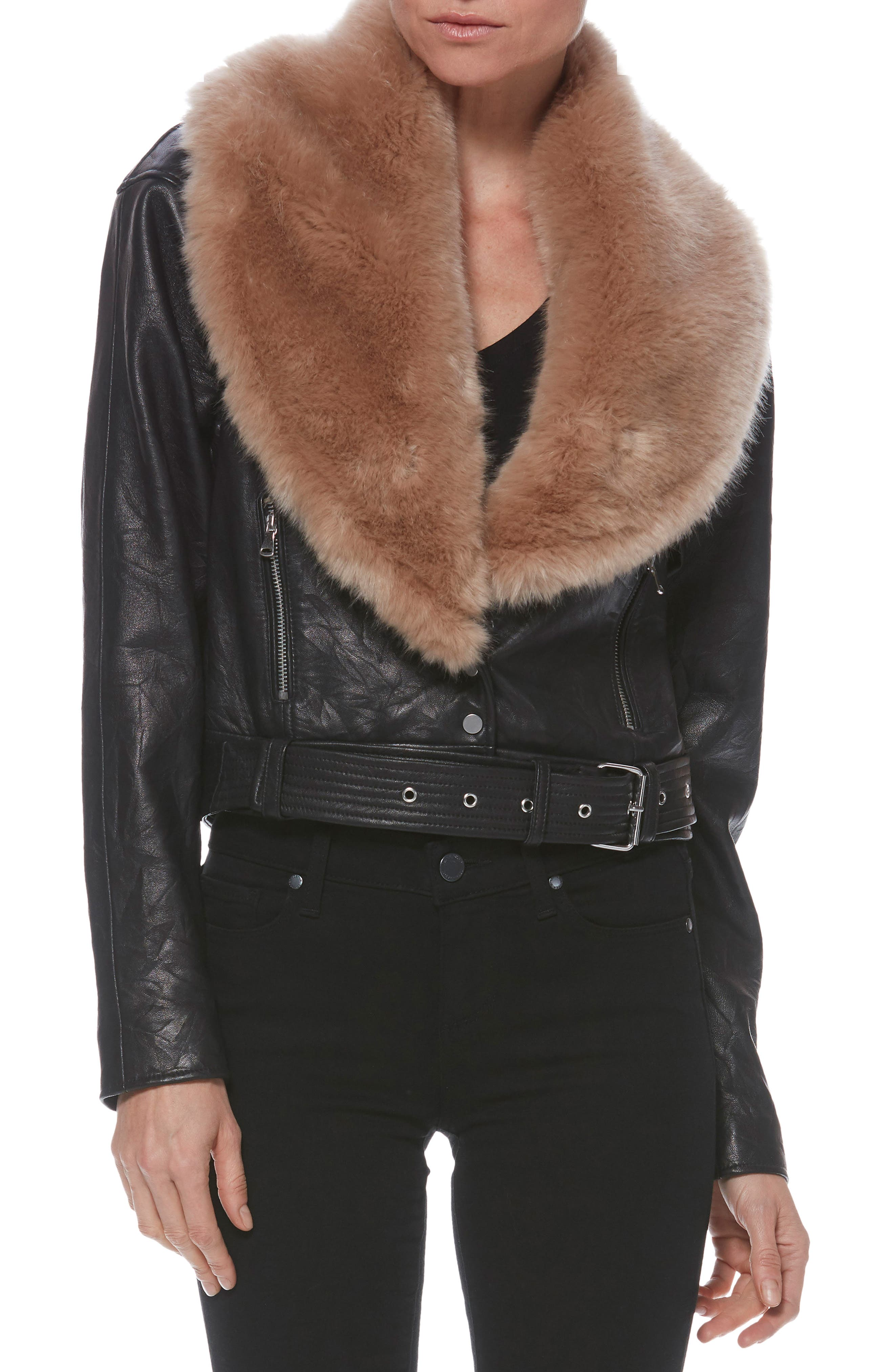 Rizza Lambskin Leather Moto Jacket with Removable Faux Fur Collar,                             Main thumbnail 1, color,                             BLACK