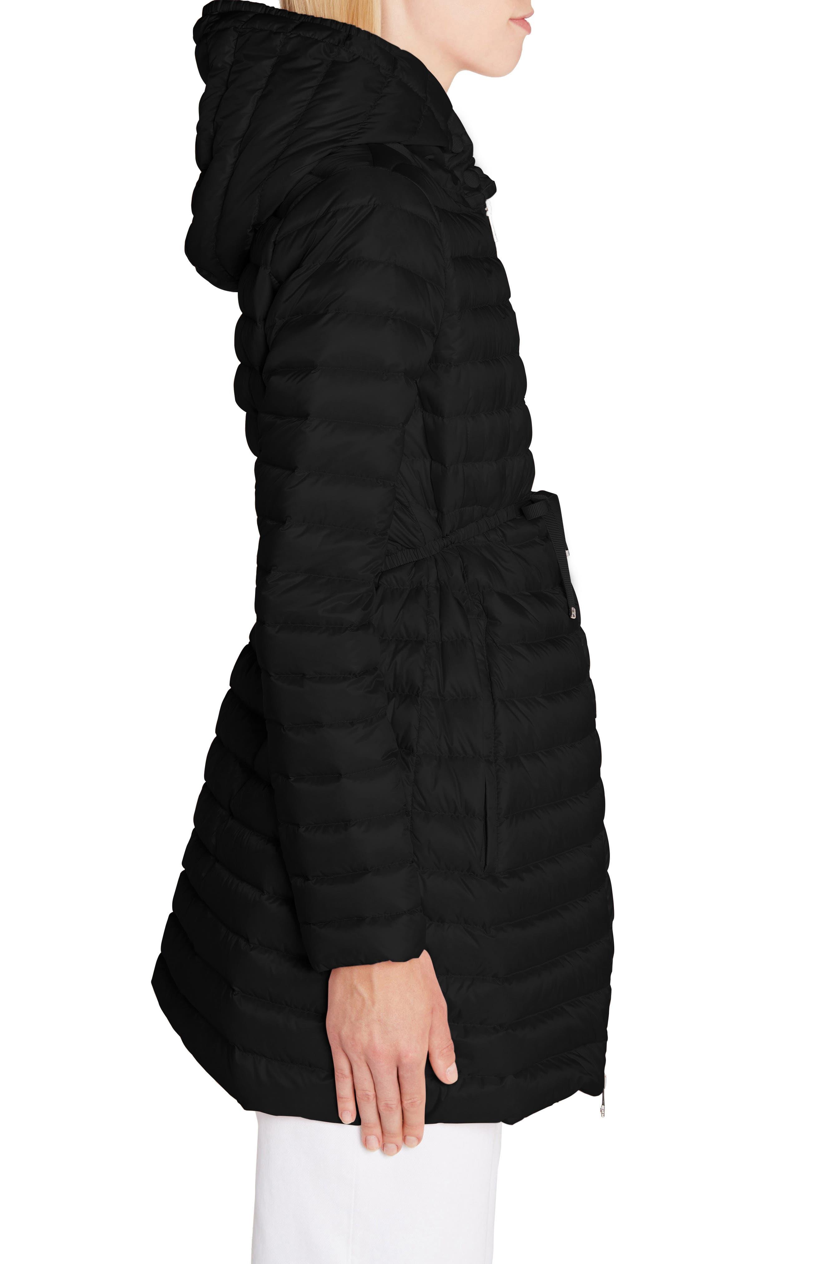 MONCLER,                             Barbel Water Resistant Long Hooded Down Jacket,                             Alternate thumbnail 3, color,                             001