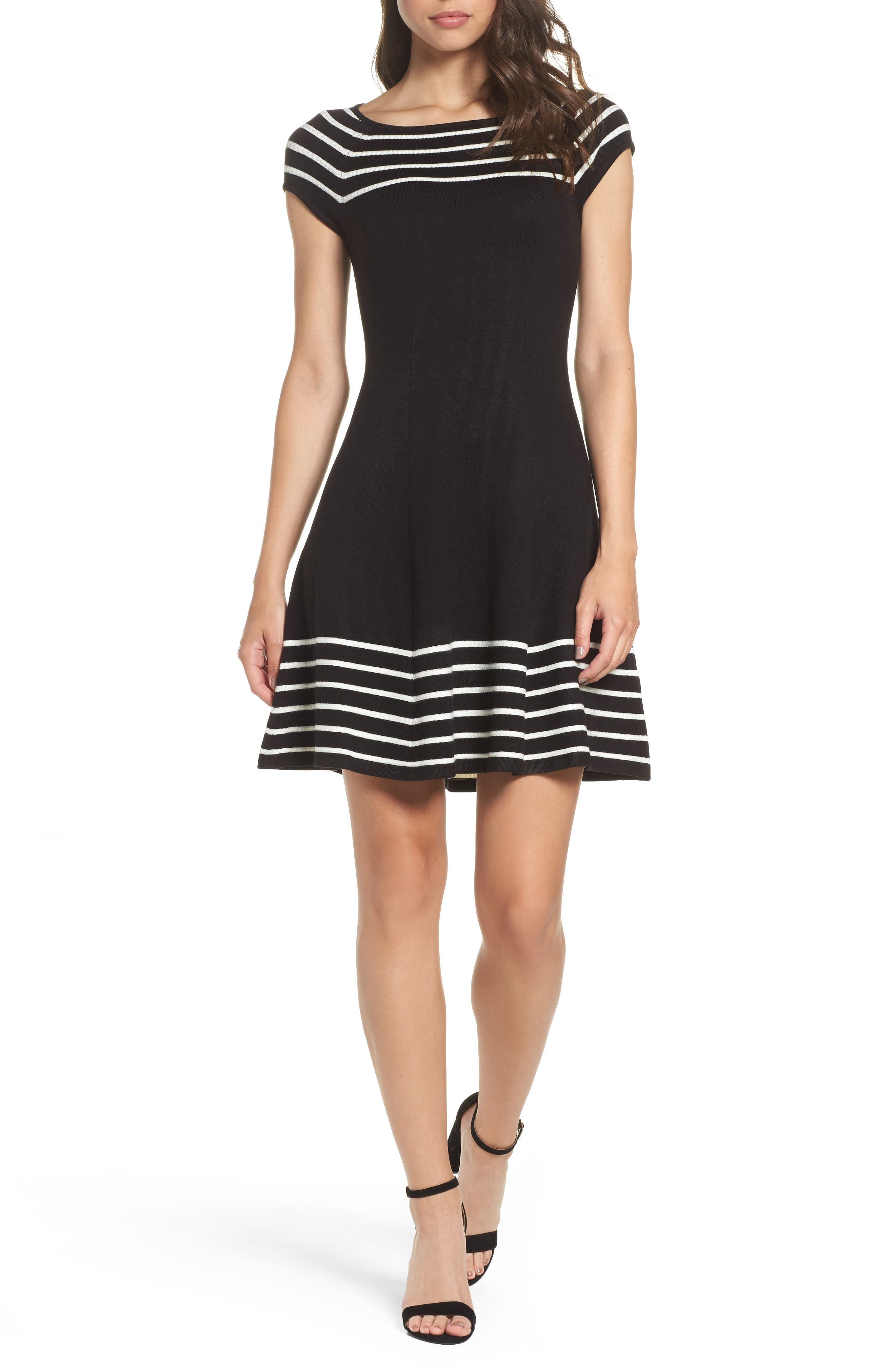 Stripe Knit Flared Dress,                             Alternate thumbnail 2, color,                             001