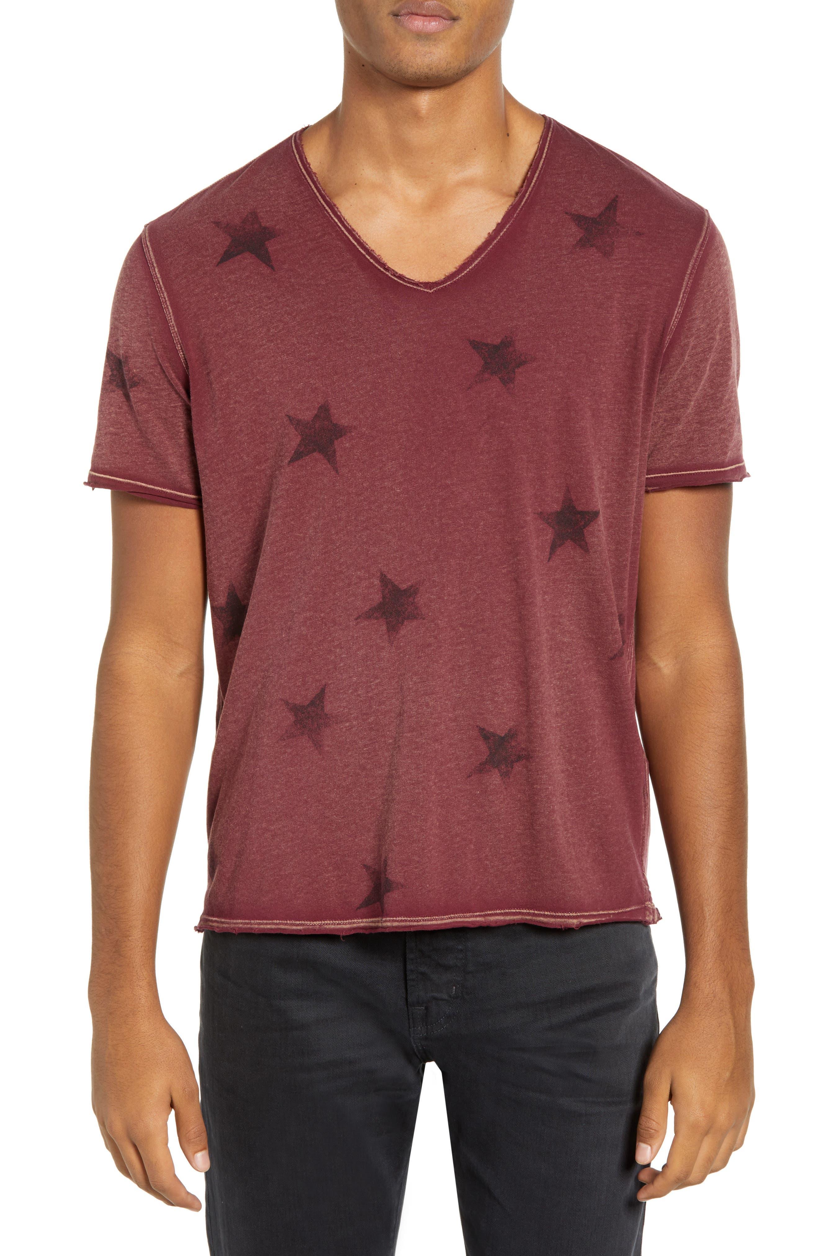 Star Print T-Shirt, Main, color, OXBLOOD