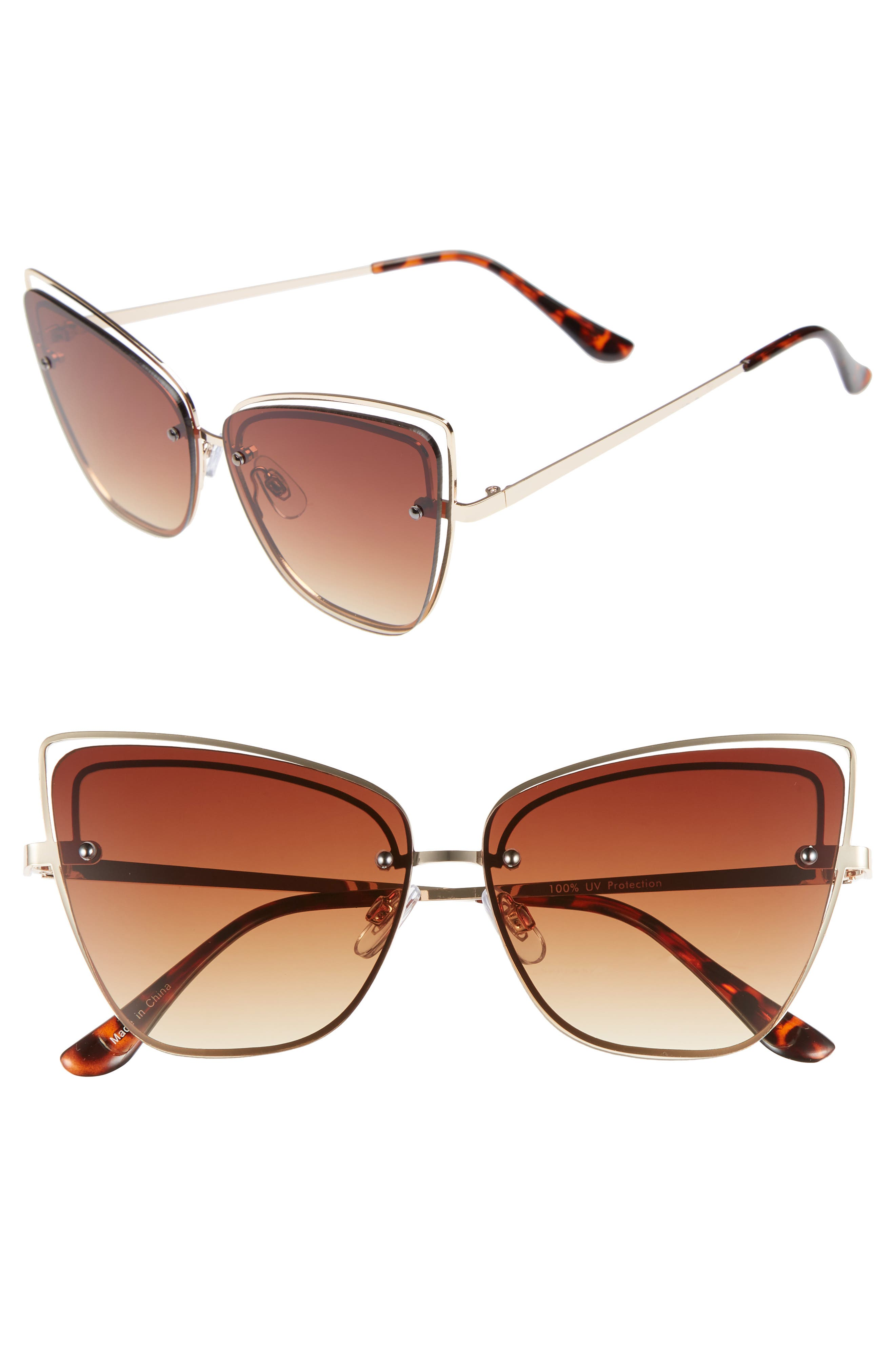 Dainty 53mm Rimless Cat Eye Sunglasses,                         Main,                         color, GOLD/ BROWN