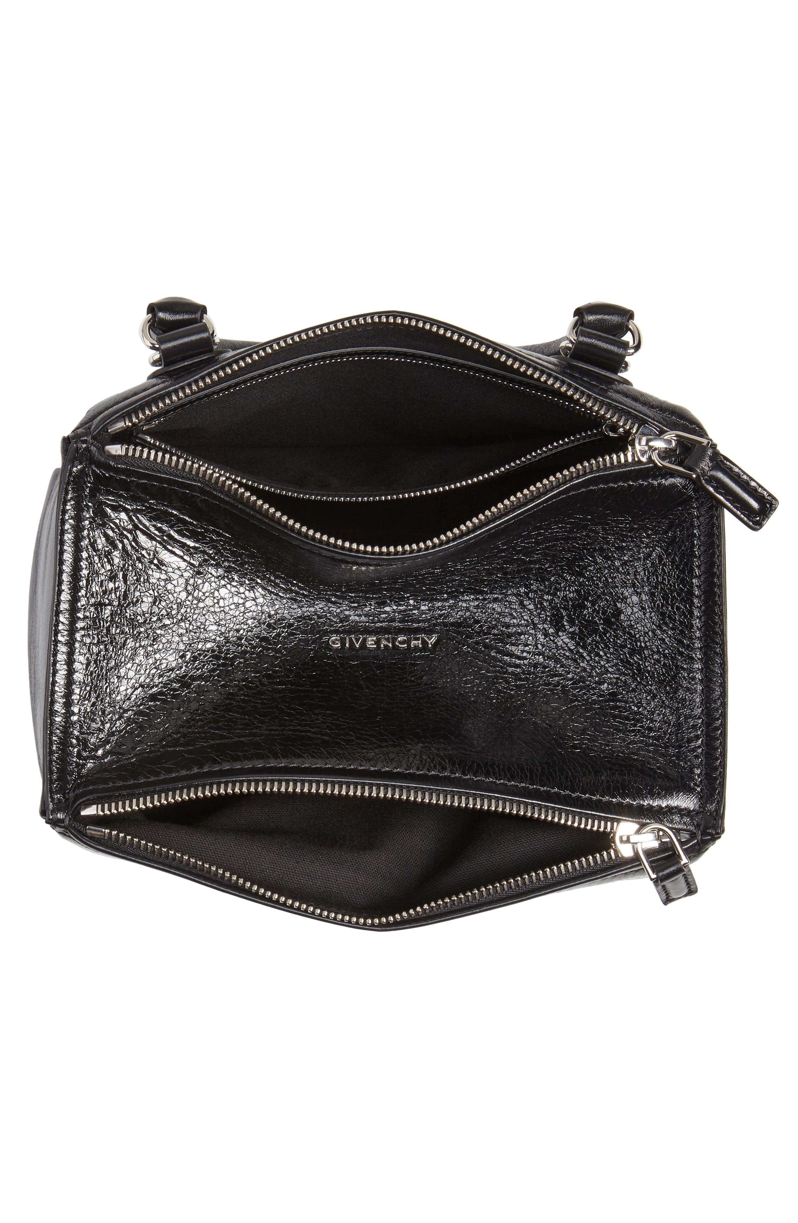 Small Pandora Leather Shoulder Bag,                             Alternate thumbnail 4, color,                             BLACK