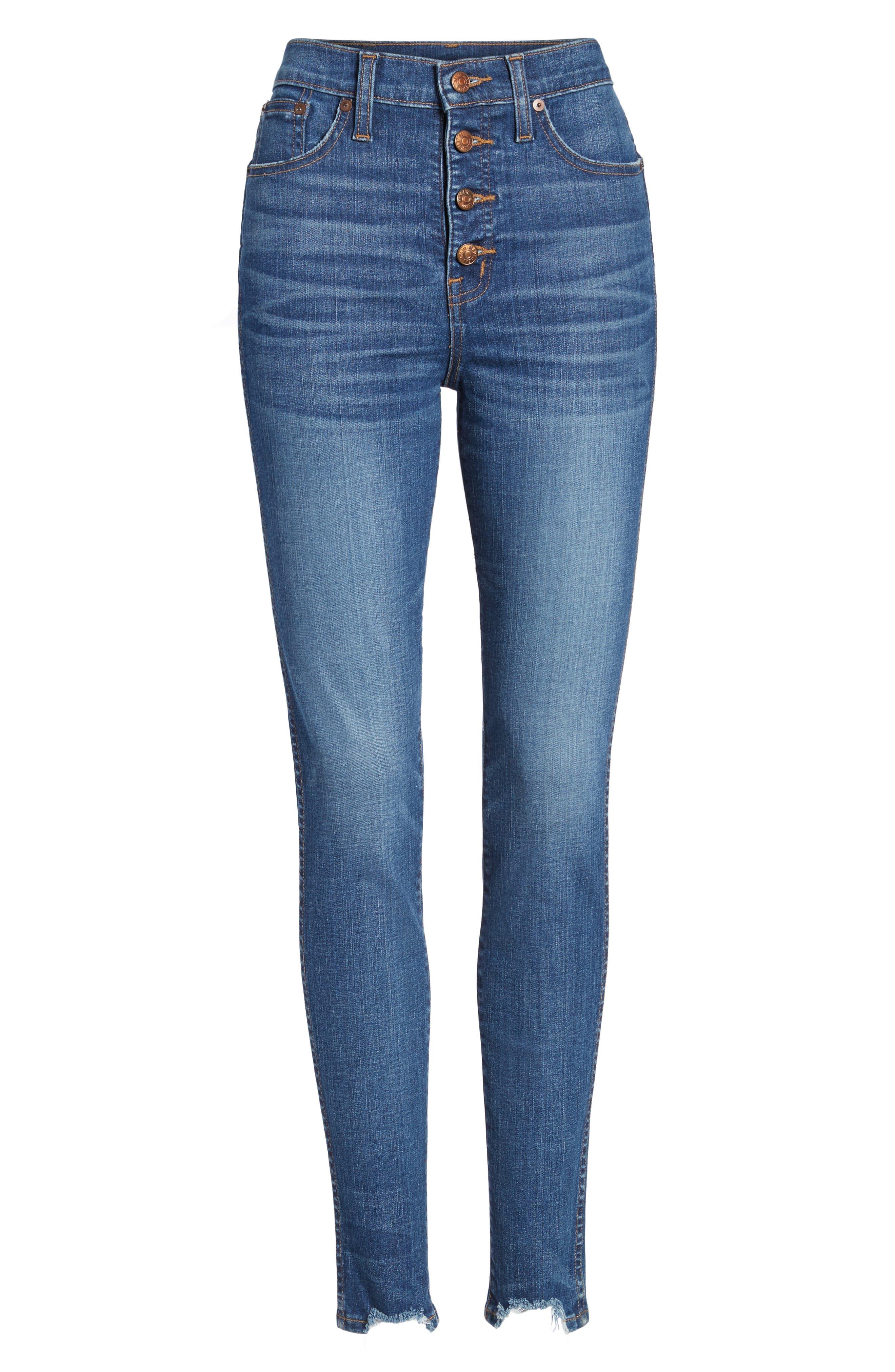 10-Inch Chewed Hem Skinny Jeans,                             Alternate thumbnail 6, color,                             400
