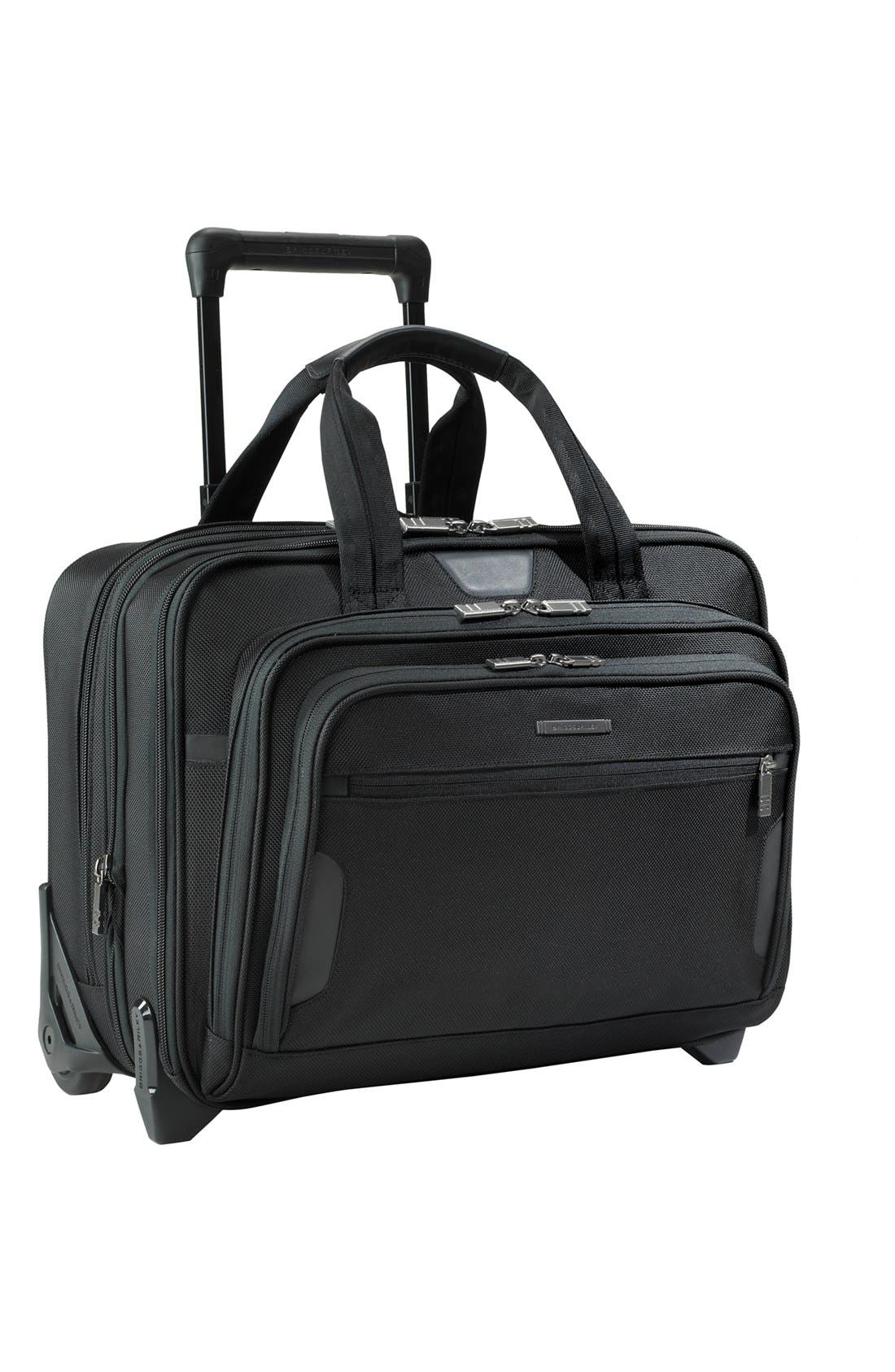 'Medium' Expandable Rolling Ballistic Nylon Briefcase,                             Main thumbnail 1, color,                             004