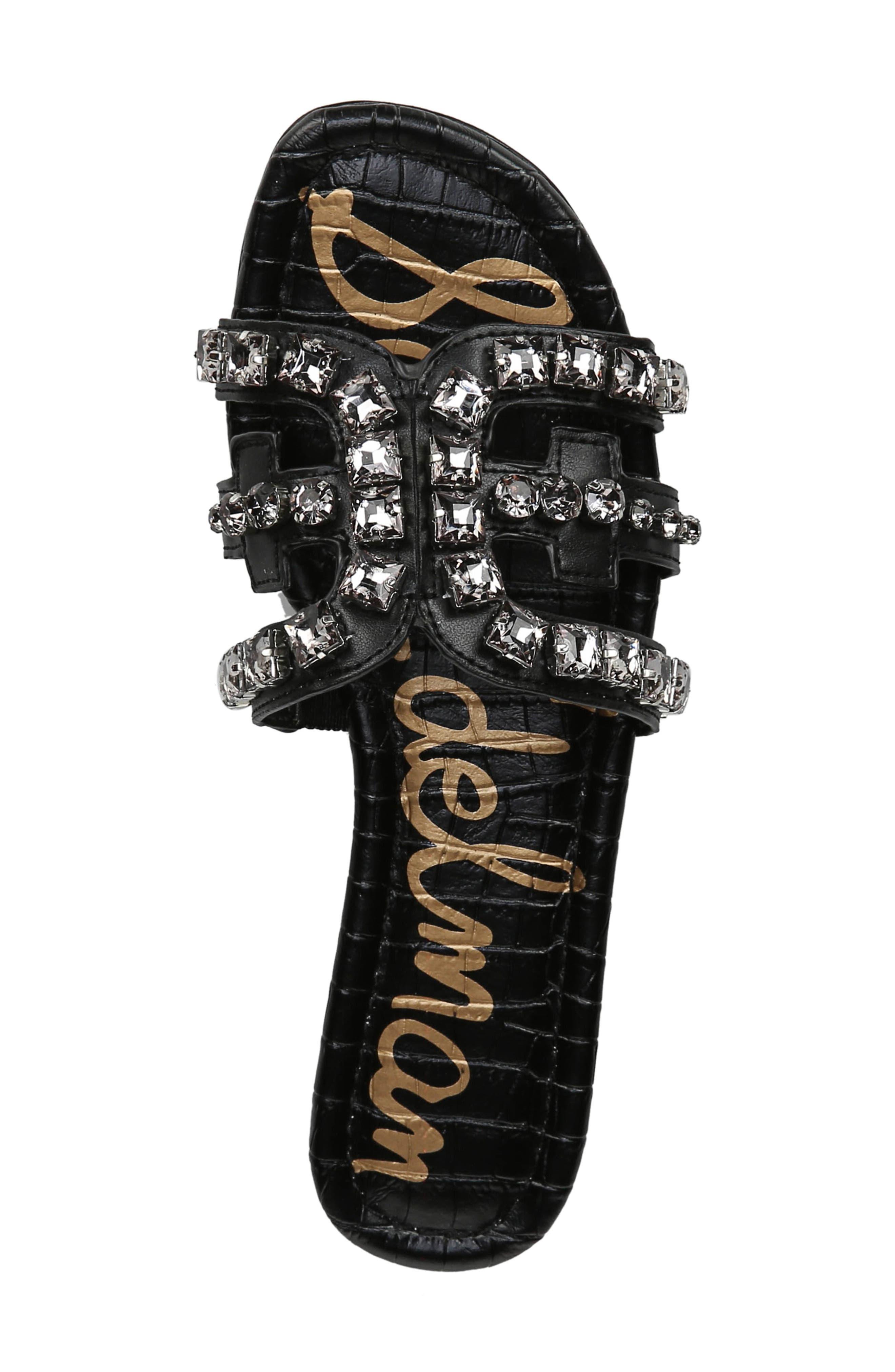 SAM EDELMAN,                             Bay 2 Embellished Slide Sandal,                             Alternate thumbnail 5, color,                             BLACK NAPPA LEATHER
