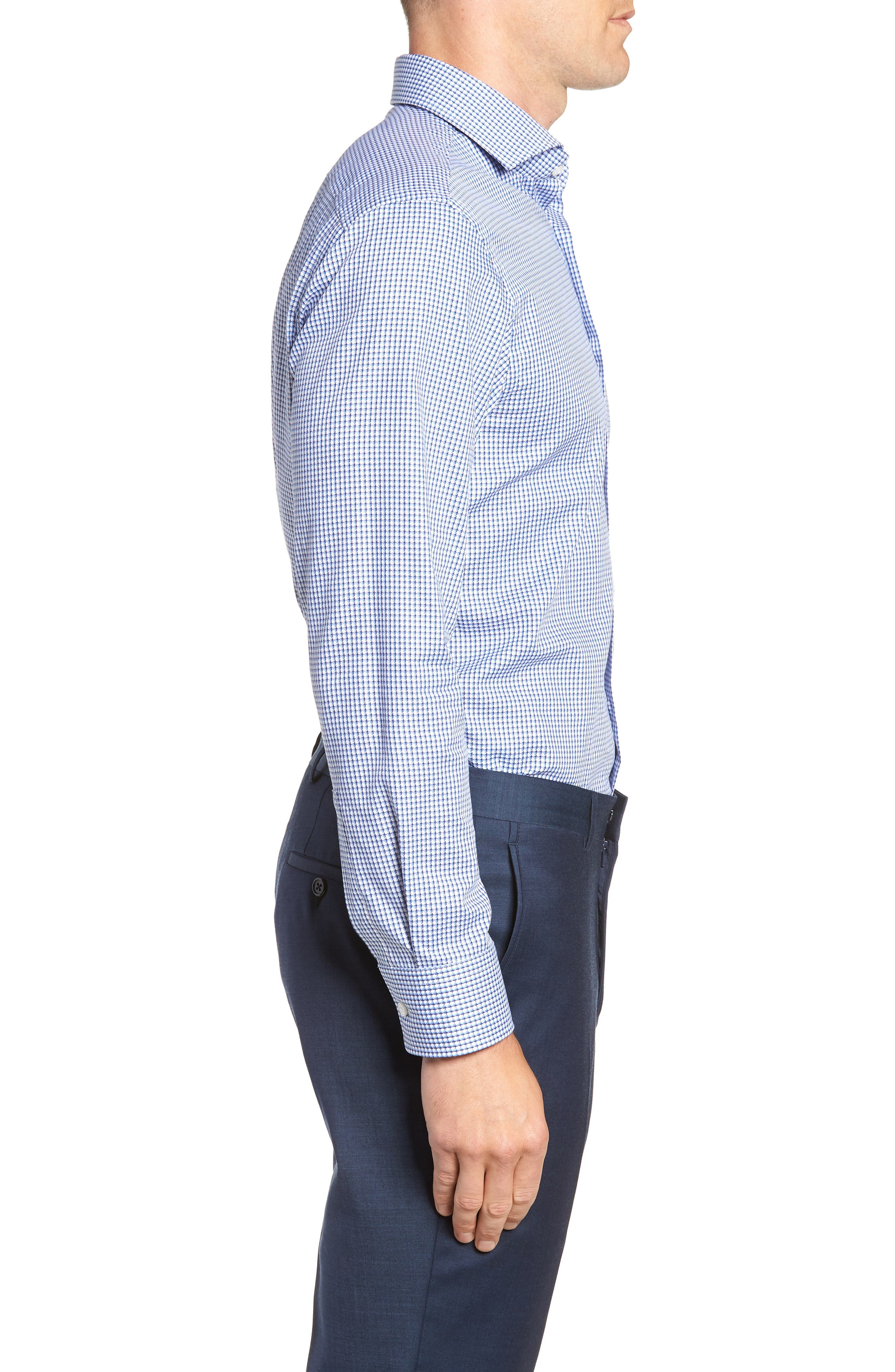Mark Sharp Fit Check Dress Shirt,                             Alternate thumbnail 4, color,                             BLUE