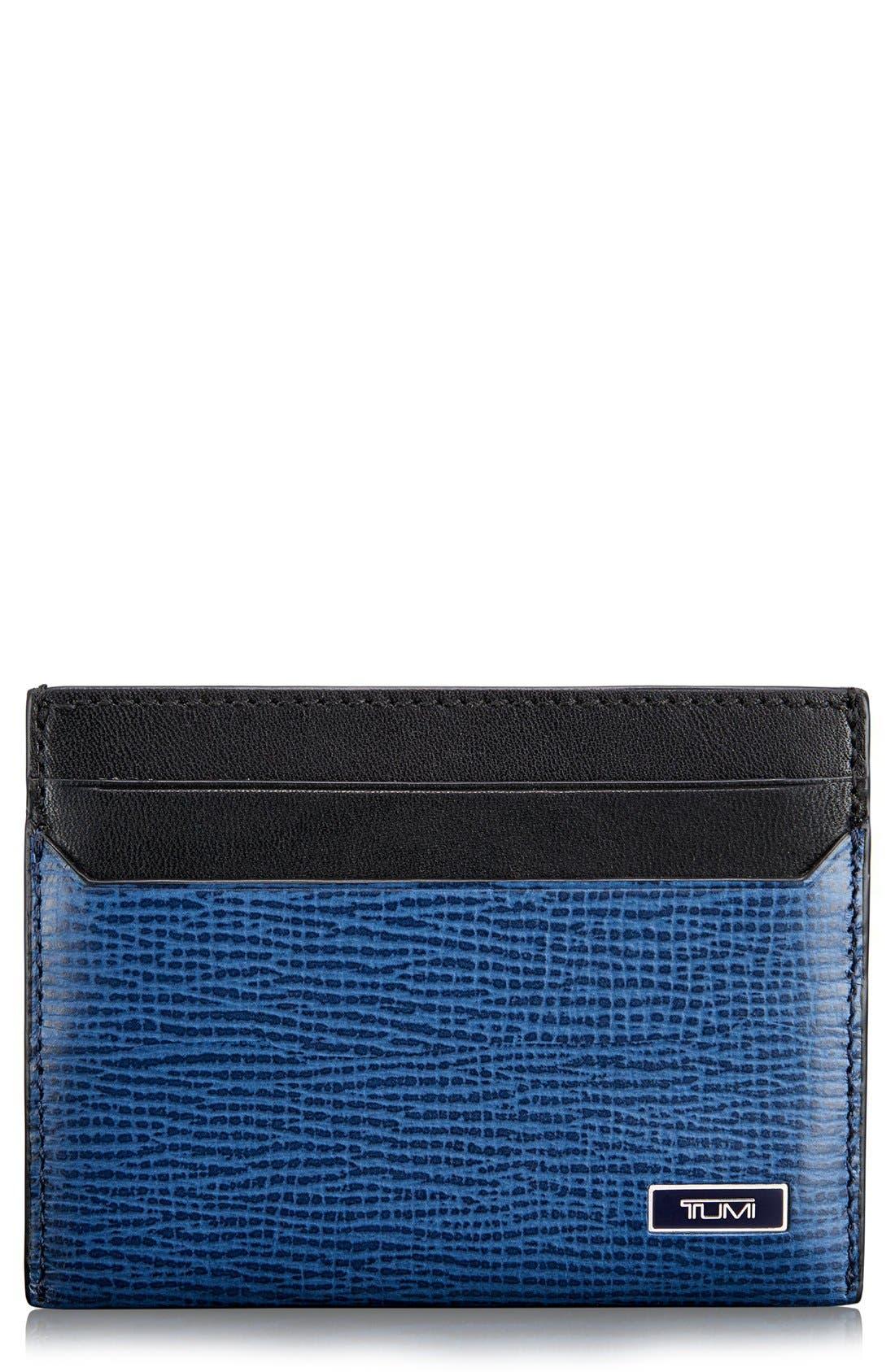 Monaco Slim Leather Card Case,                             Main thumbnail 1, color,                             COBALT