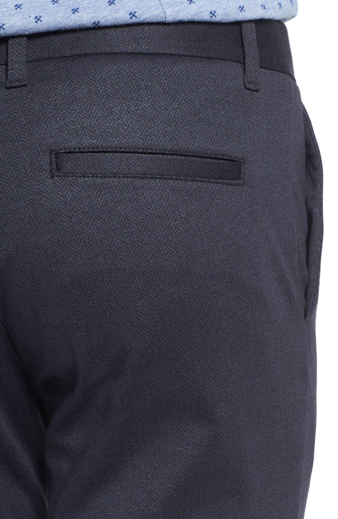 Prospect Herringbone Slim Fit Trousers,                             Alternate thumbnail 5, color,                             001