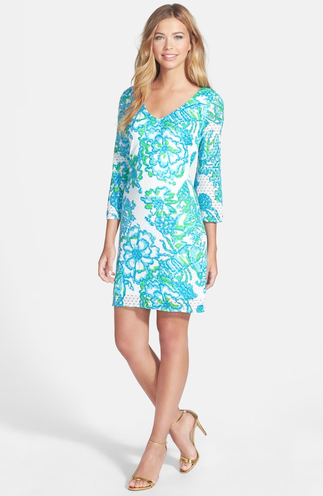 'Alden' Print Mesh Lace Shift Dress, Main, color, 440