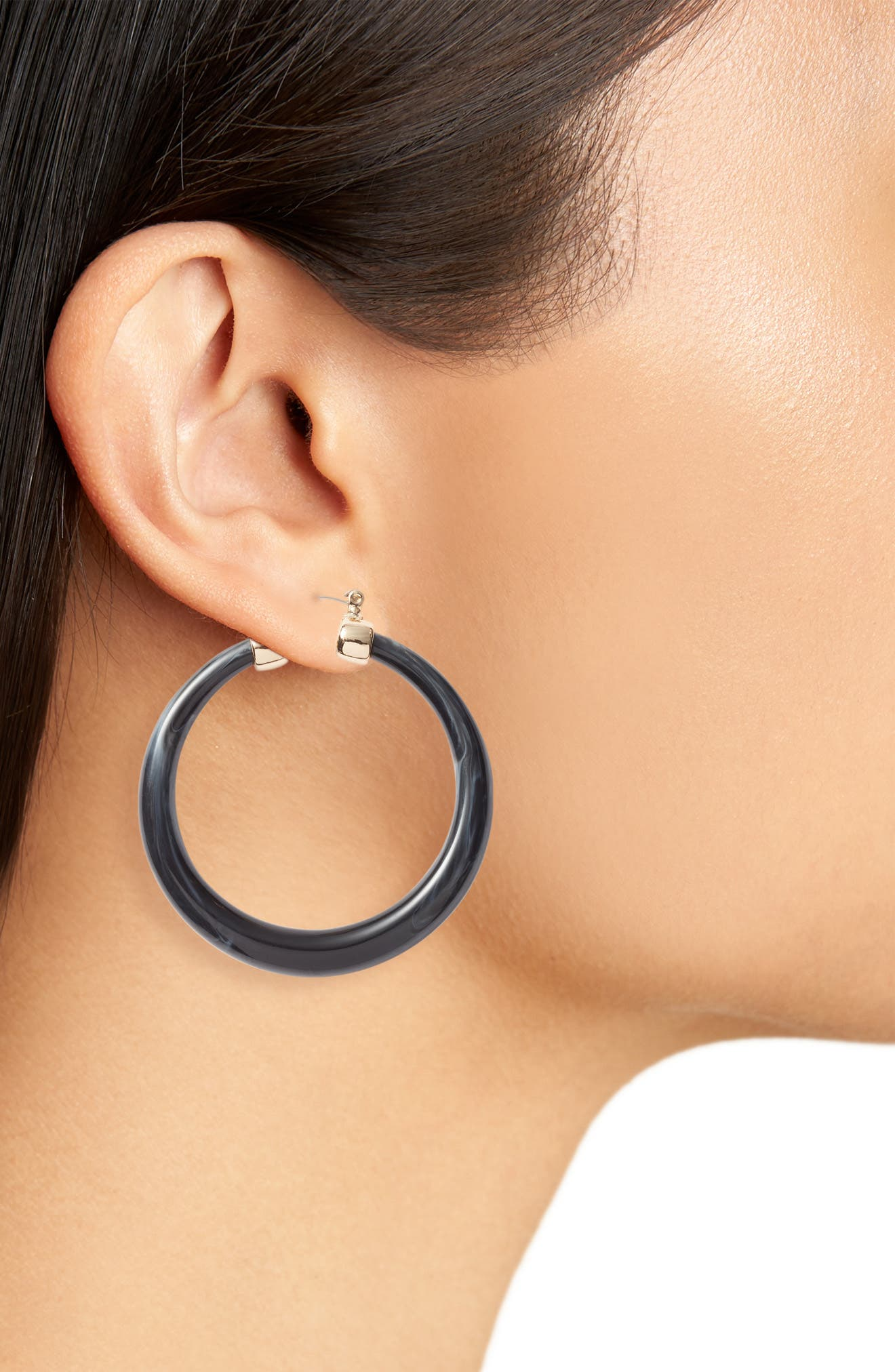 HALOGEN<SUP>®</SUP>,                             Tapered Hoop Earrings,                             Alternate thumbnail 2, color,                             BLACK- GOLD