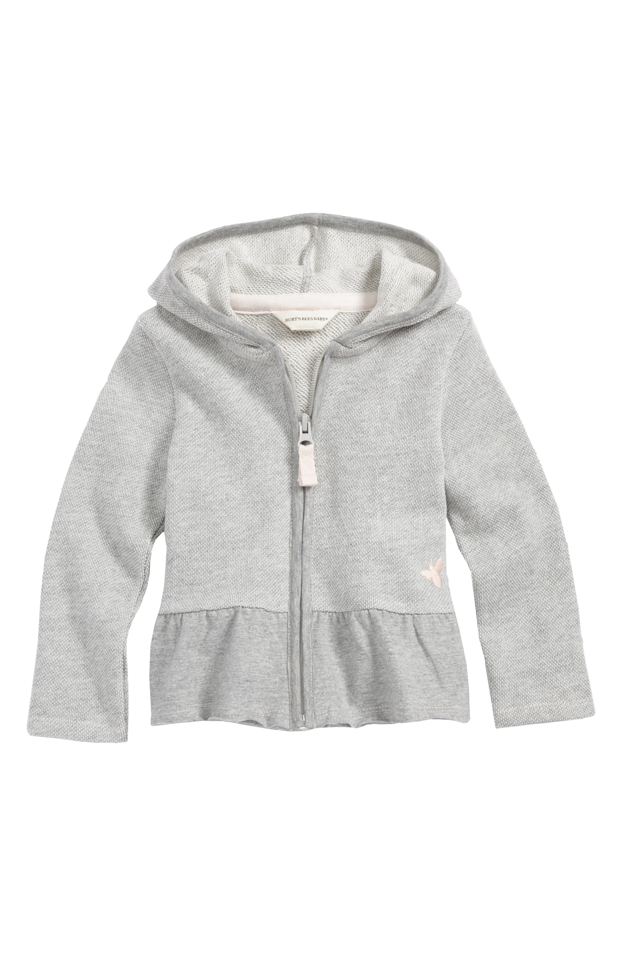 Piqué Organic Cotton Ruffle Hem Zip Hoodie,                             Main thumbnail 1, color,