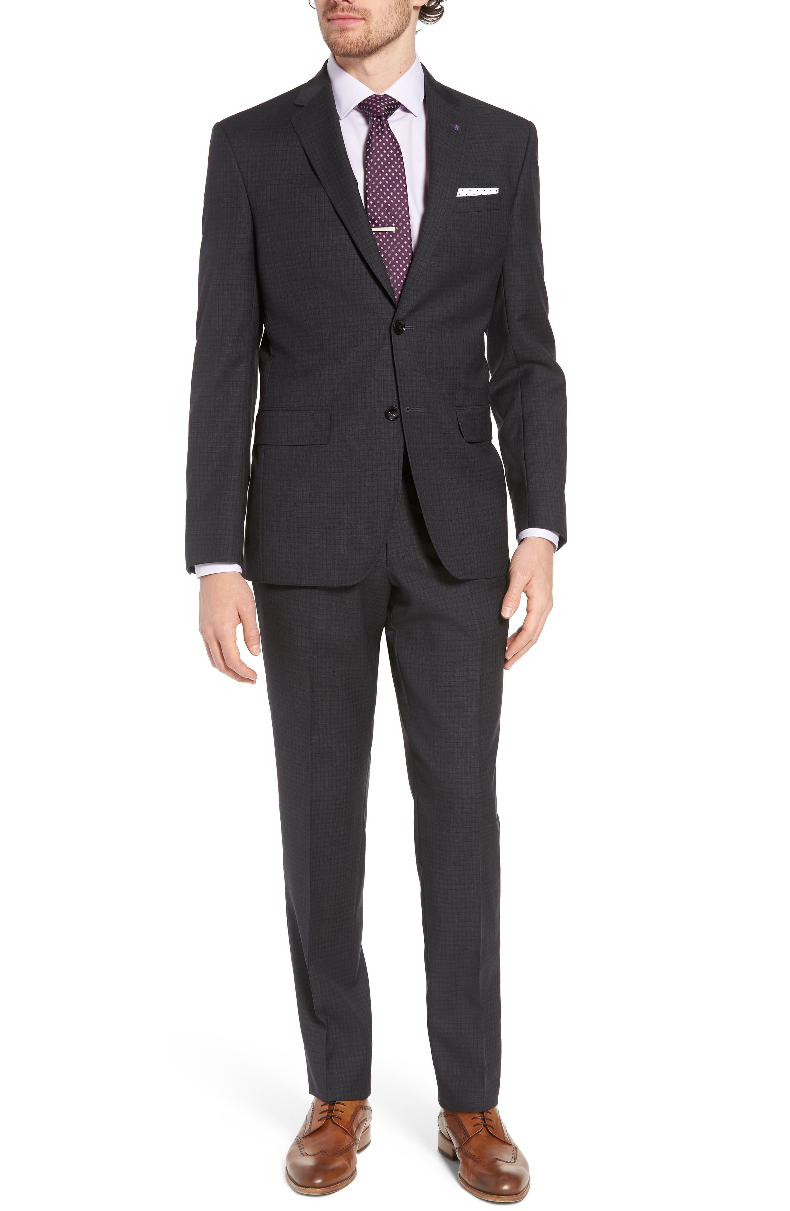 Jay Trim Fit Check Wool Suit,                         Main,                         color, 020