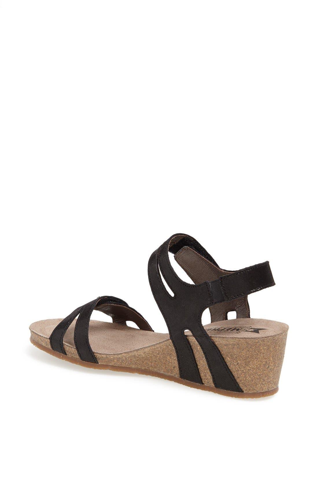 'Minoa' Wedge Sandal,                             Alternate thumbnail 2, color,                             BLACK