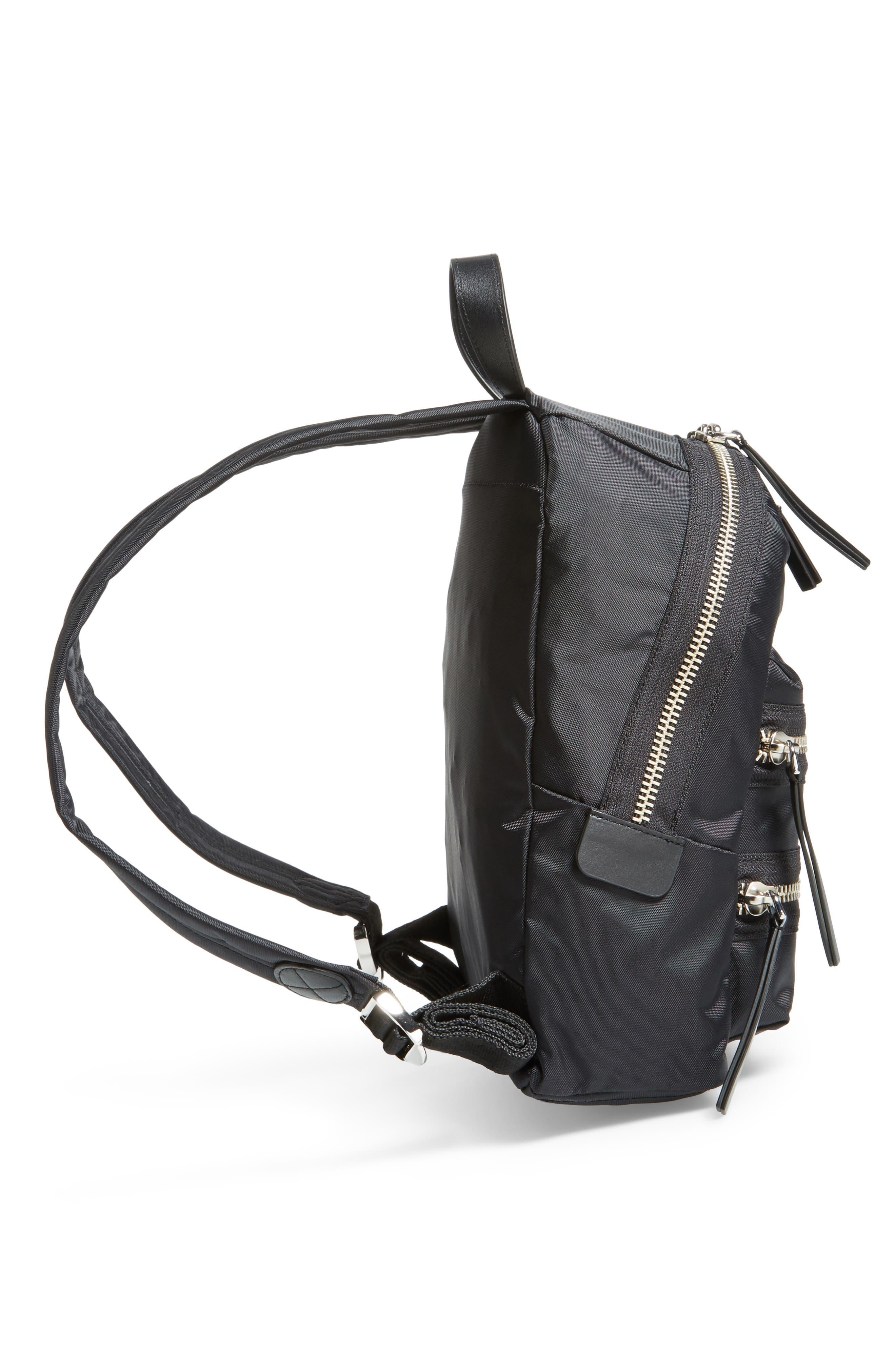 Mini Biker Nylon Backpack,                             Alternate thumbnail 5, color,                             BLACK