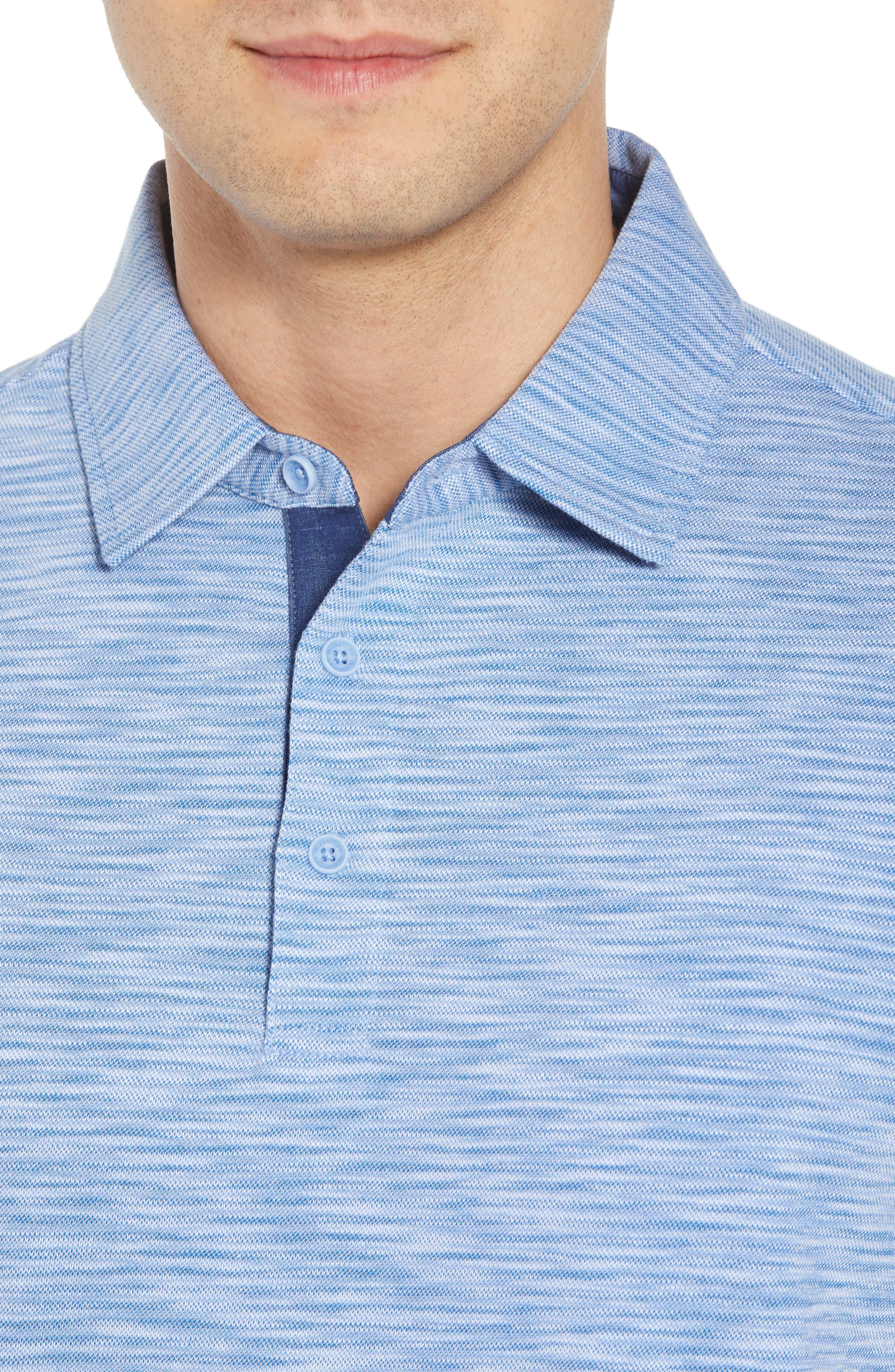 Marled Stripe Polo,                             Alternate thumbnail 4, color,                             CLASSIC BLUE