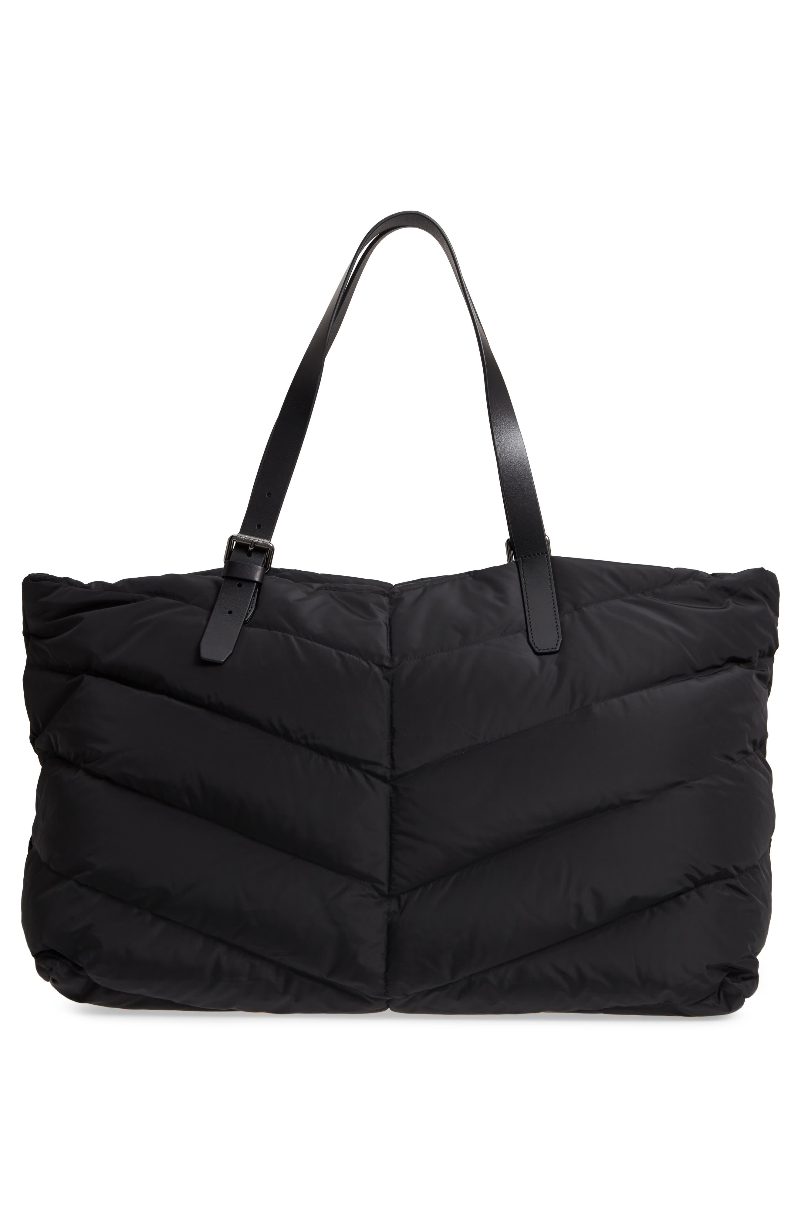 Emilee Quilted Nylon Weekend Tote,                             Alternate thumbnail 3, color,                             001