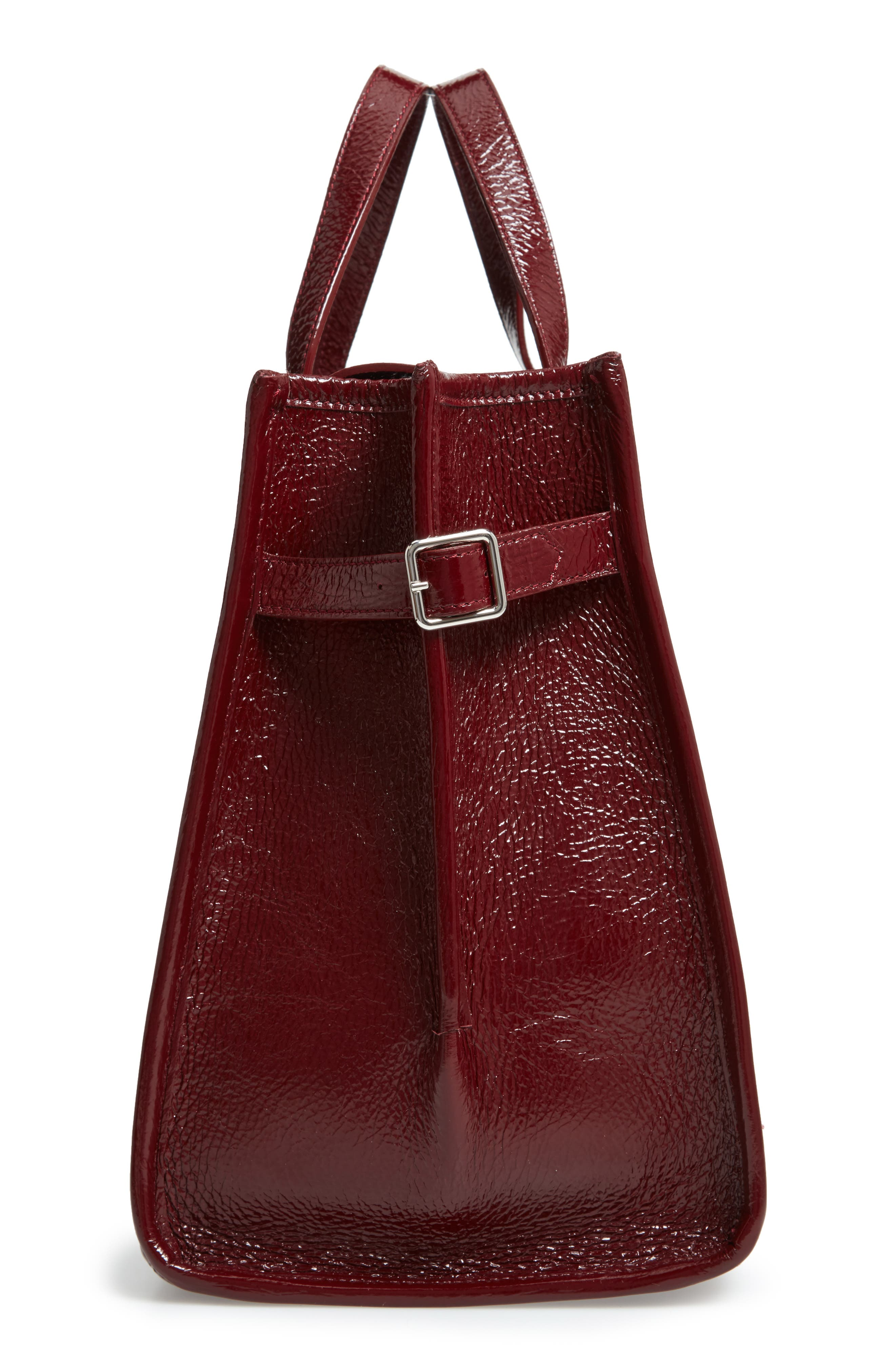CALVIN KLEIN 209W39NYC East/West Leather Tote,                             Alternate thumbnail 5, color,                             DARK BURGUNDY