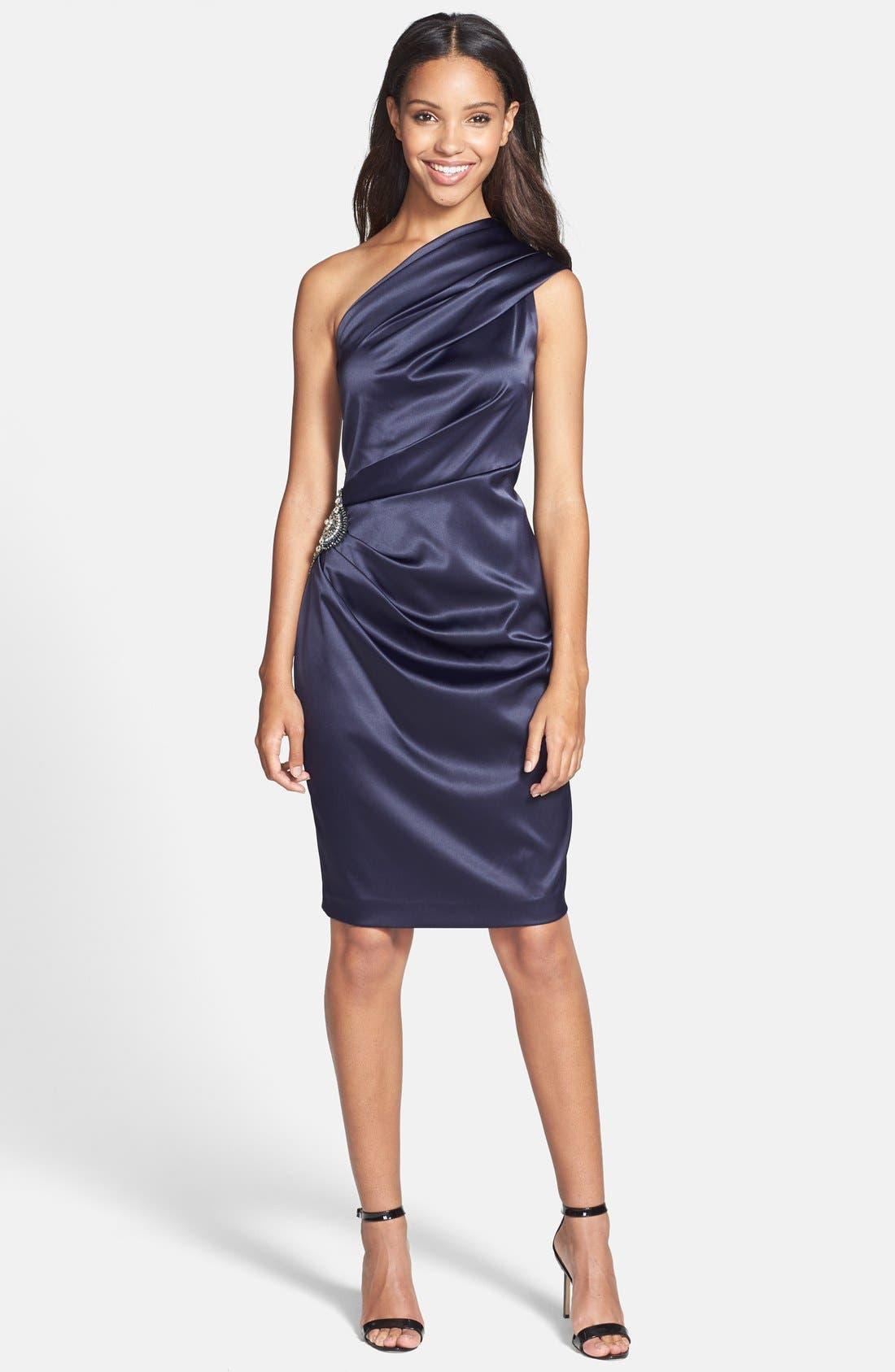 Beaded One-Shoulder Satin Dress,                             Main thumbnail 2, color,