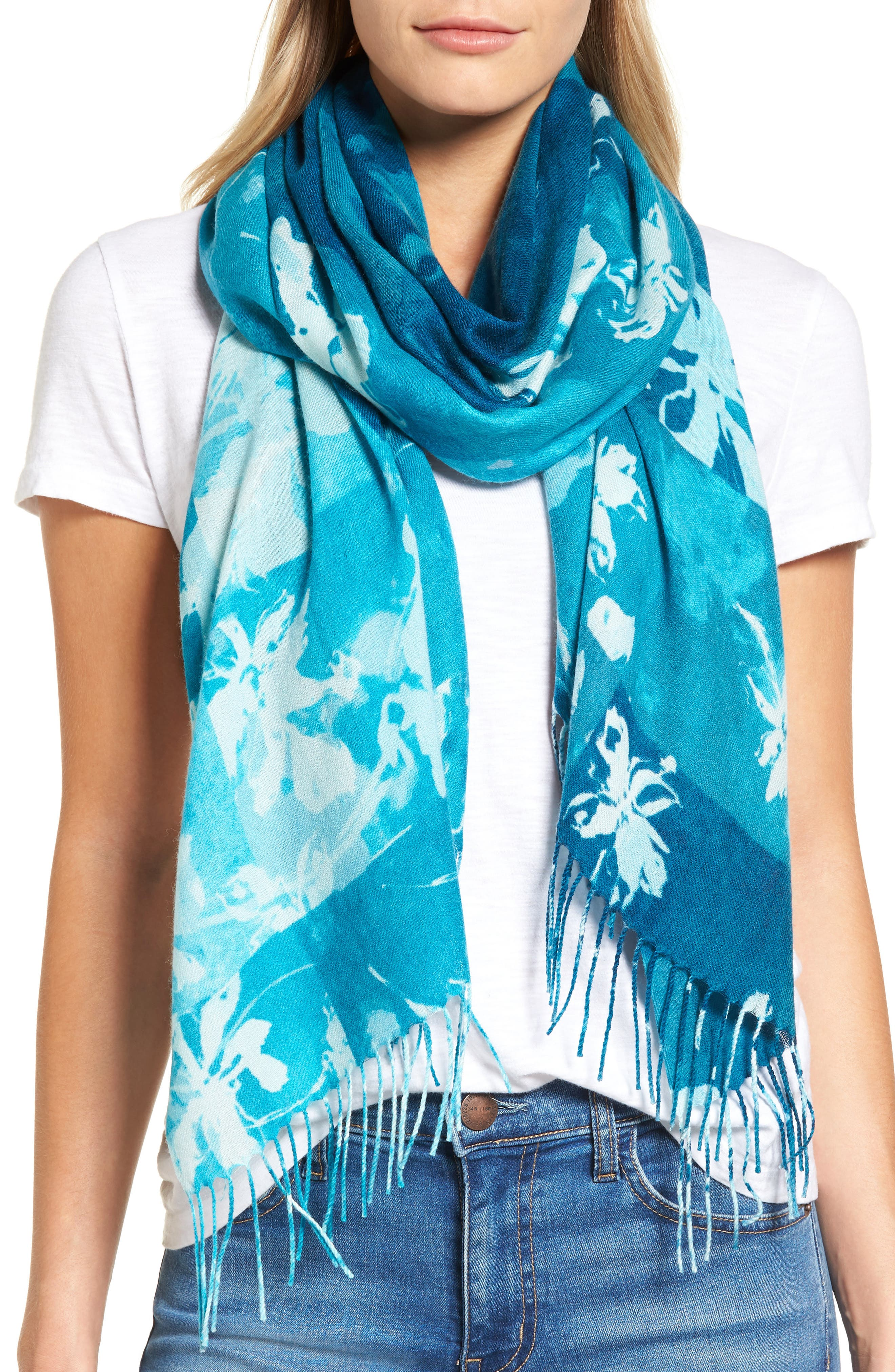 Solar Patchwork Tissue Wool & Cashmere Scarf,                             Main thumbnail 2, color,