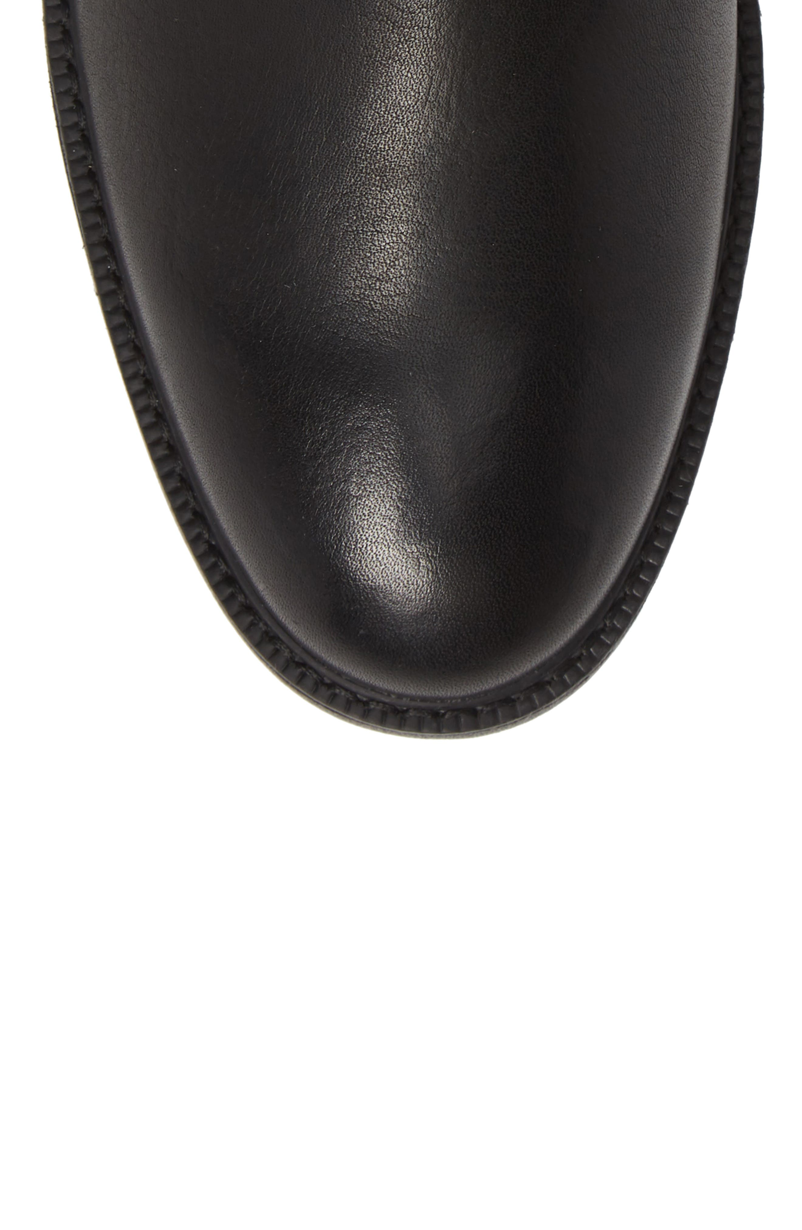 Hollis Waterproof Chelsea Boot,                             Alternate thumbnail 5, color,                             BLACK LEATHER
