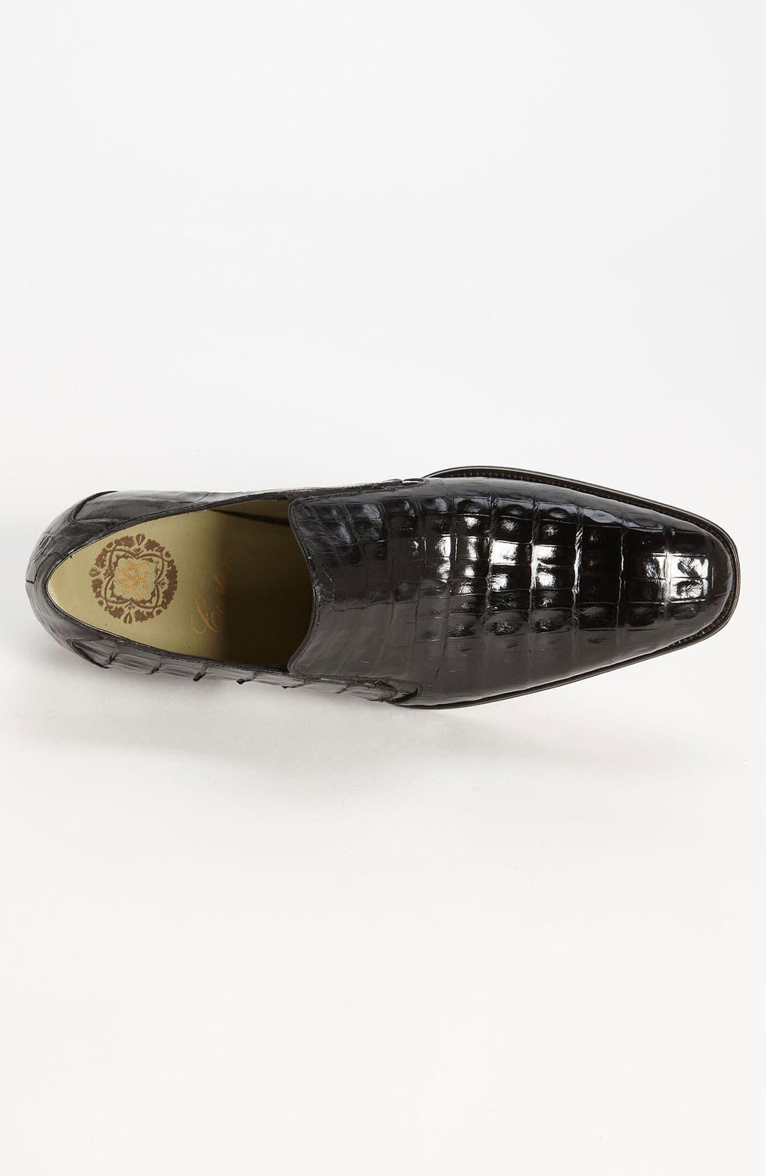 'Fiorello' Crocodile Loafer,                             Alternate thumbnail 2, color,                             BLACK