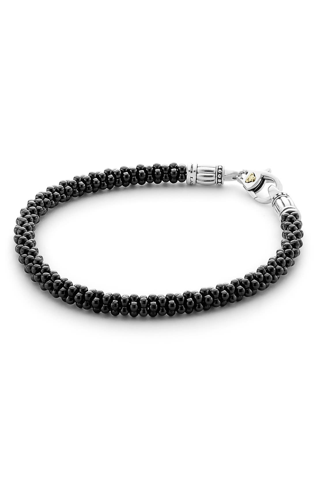 LAGOS,                             'Black & White Caviar' Bracelet,                             Main thumbnail 1, color,                             BLACK/ GOLD