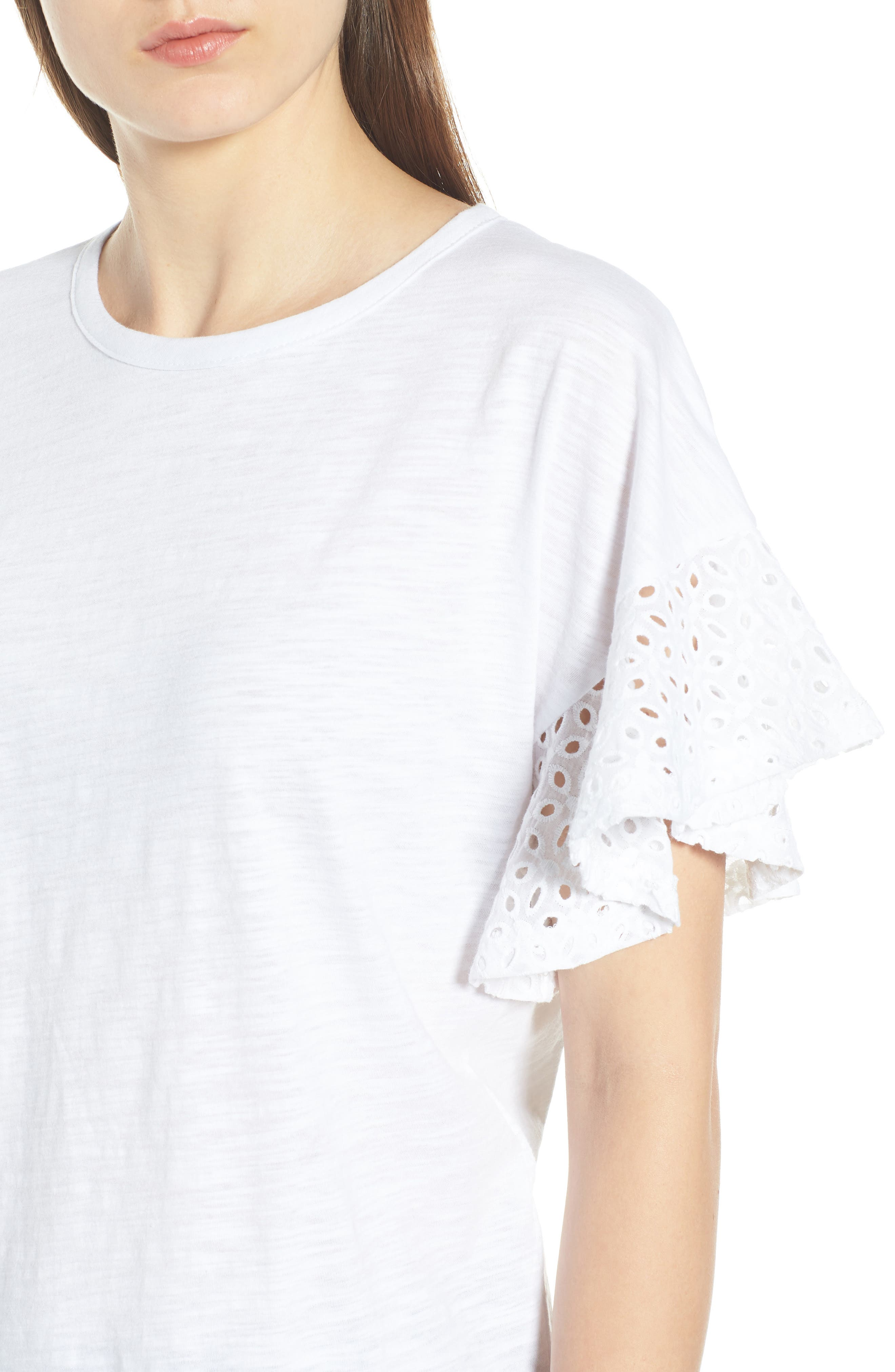 Eyelet Sleeve Burnout Tee,                             Alternate thumbnail 4, color,                             100