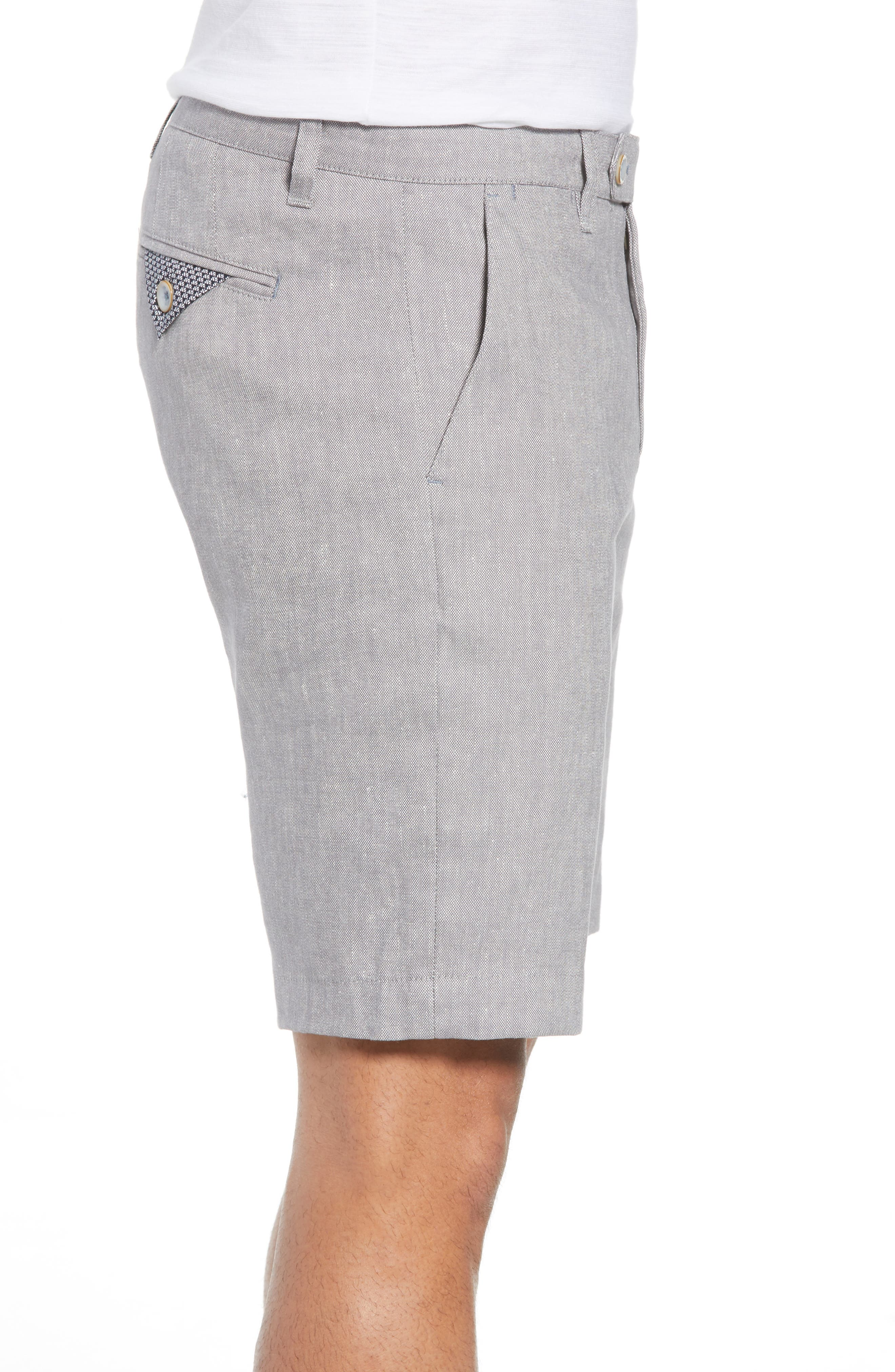 Newshow Flat Front Stretch Cotton Blend Shorts,                             Alternate thumbnail 3, color,                             GREY