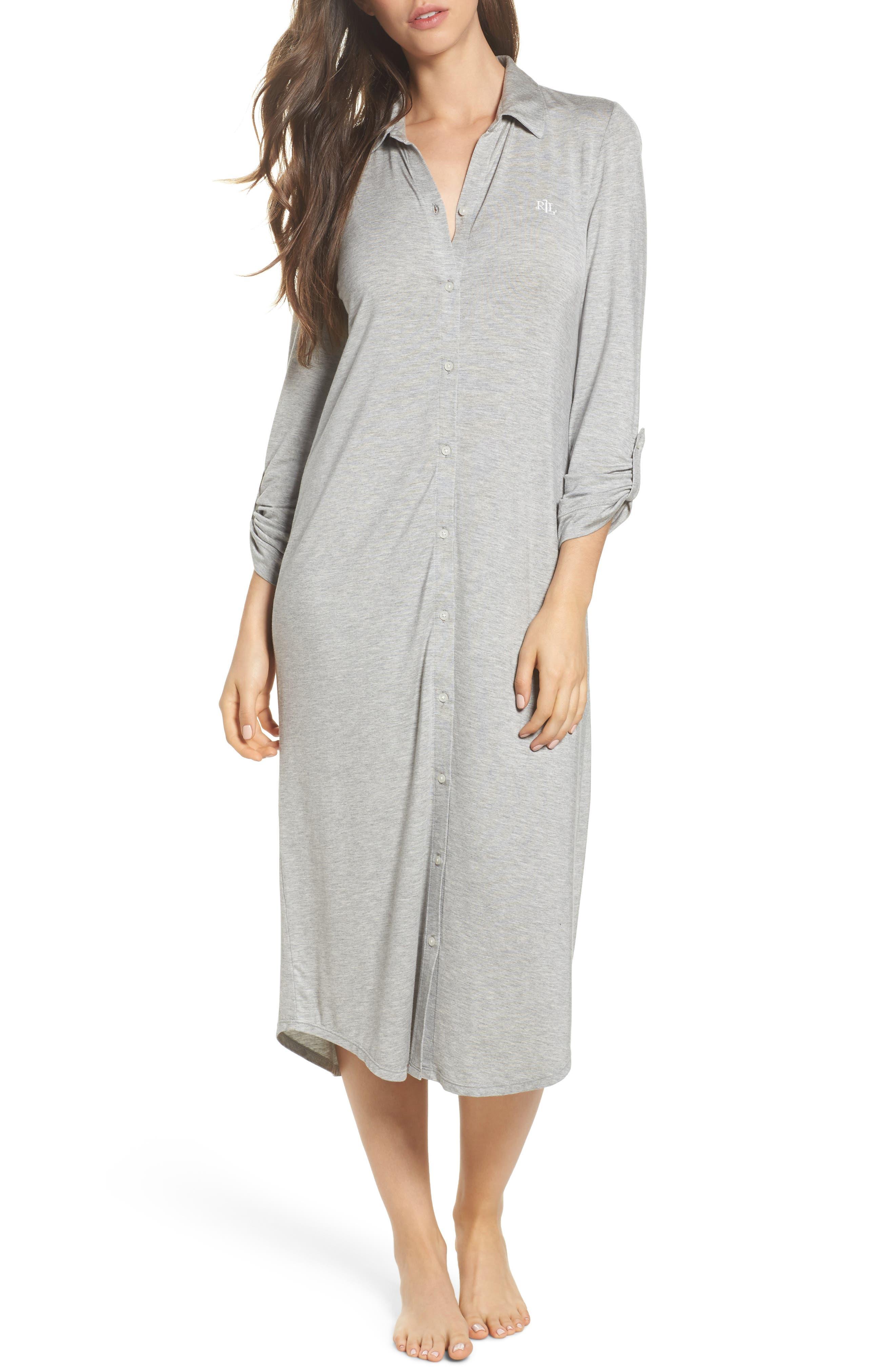 Lauren Ralph Lauren Ballet Jersey Sleep Shirt, Grey