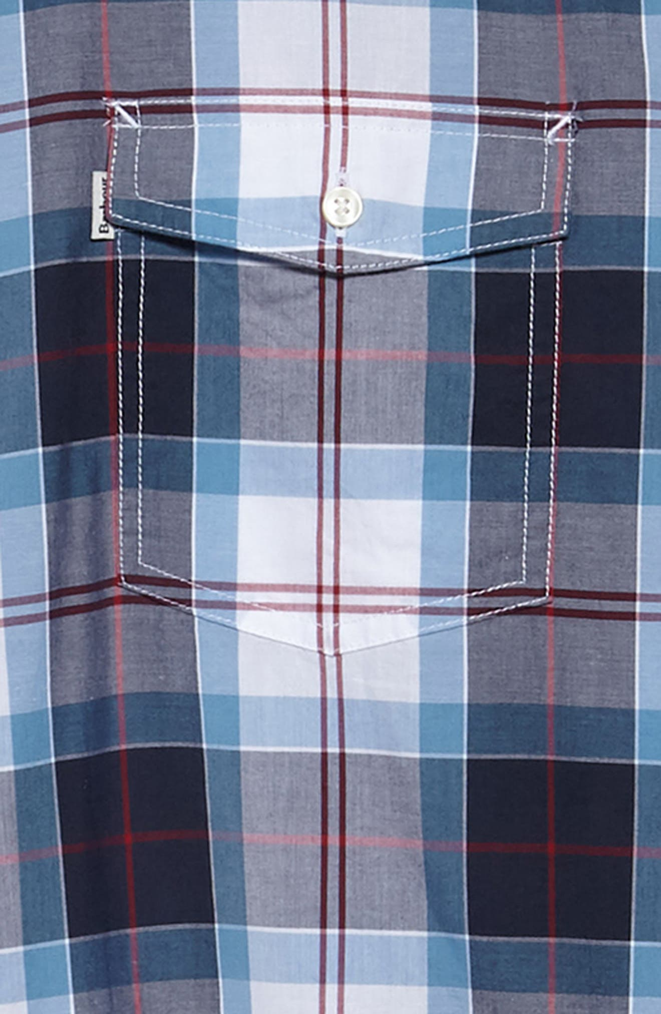 Cabin Tailored Fit Plaid Sport Shirt,                             Alternate thumbnail 6, color,                             MID BLUE