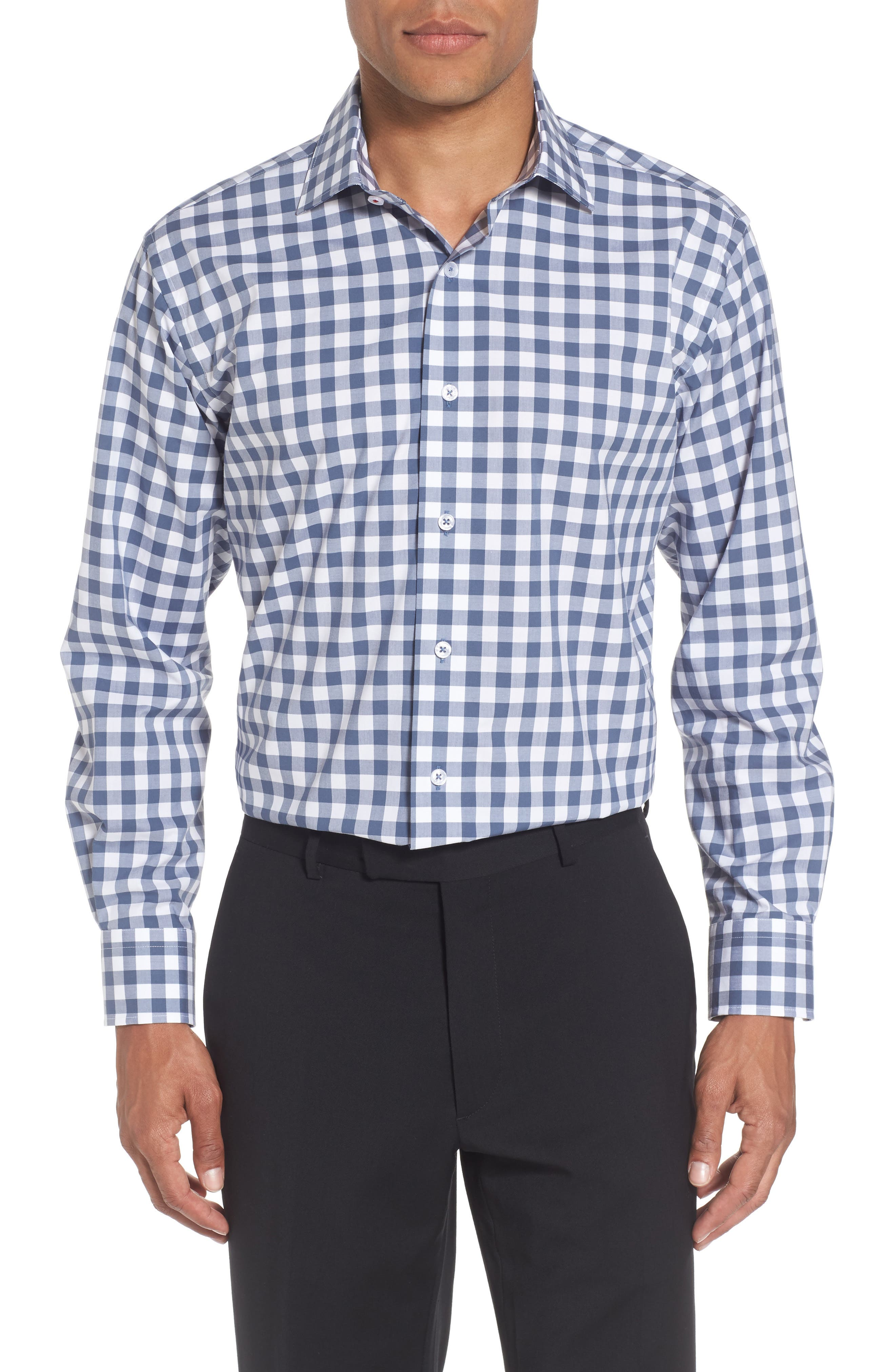 Trim Fit Check Dress Shirt,                         Main,                         color, 410