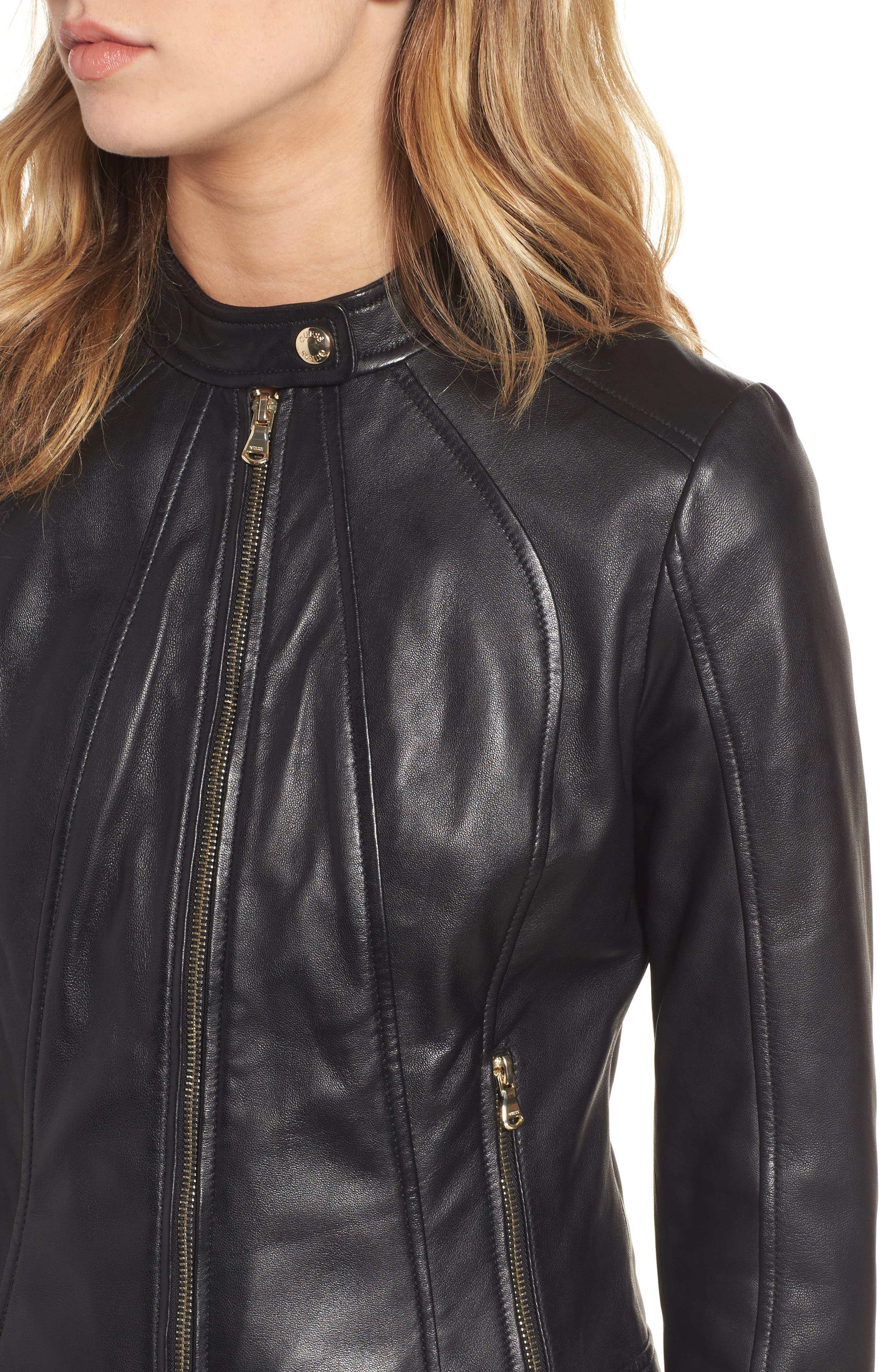 Collarless Leather Moto Jacket,                             Alternate thumbnail 4, color,                             001