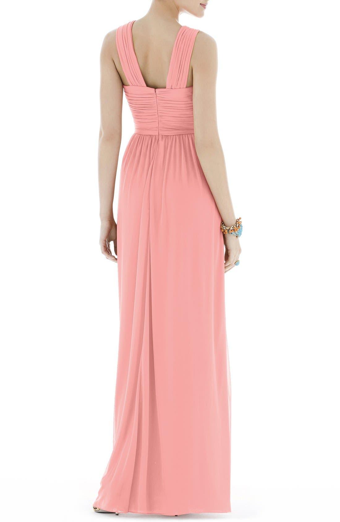 Shirred Chiffon V-Neck Gown,                             Alternate thumbnail 6, color,                             633