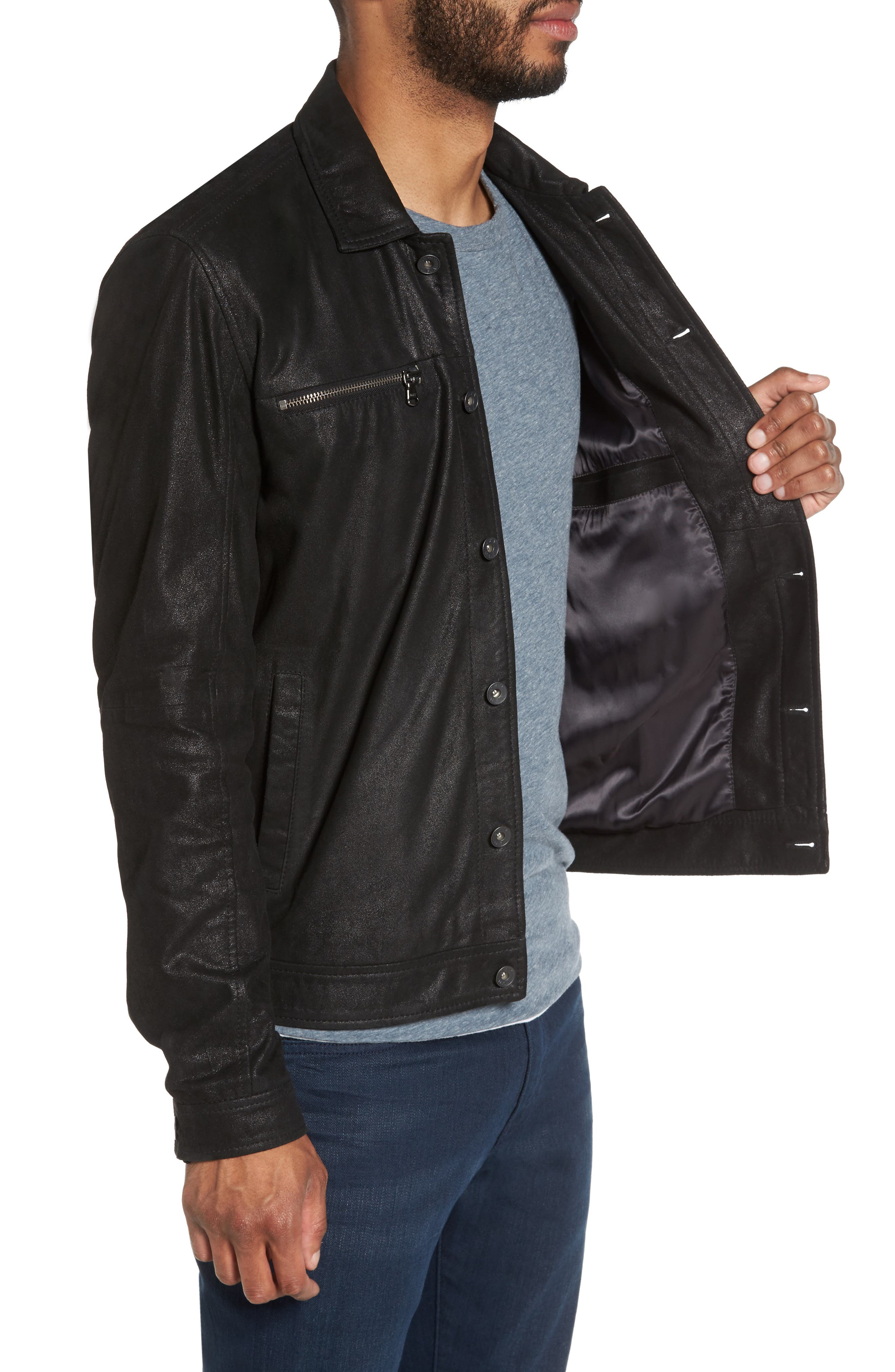 Leather Trucker Jacket,                             Alternate thumbnail 3, color,                             001