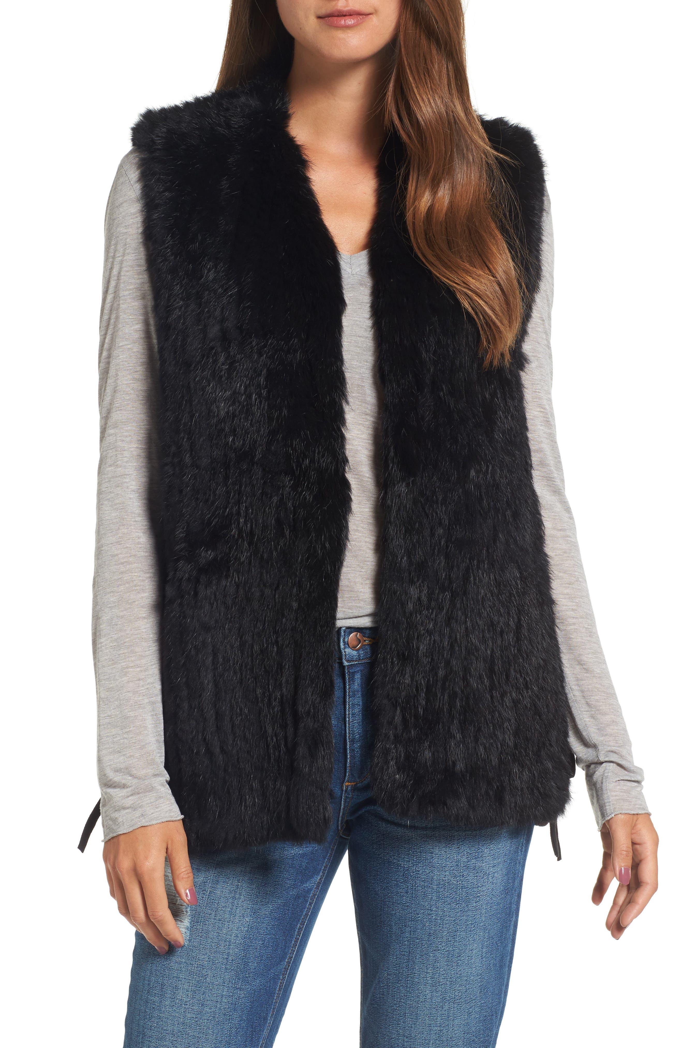 Genuine Rabbit Fur Vest,                             Main thumbnail 1, color,                             BLACK