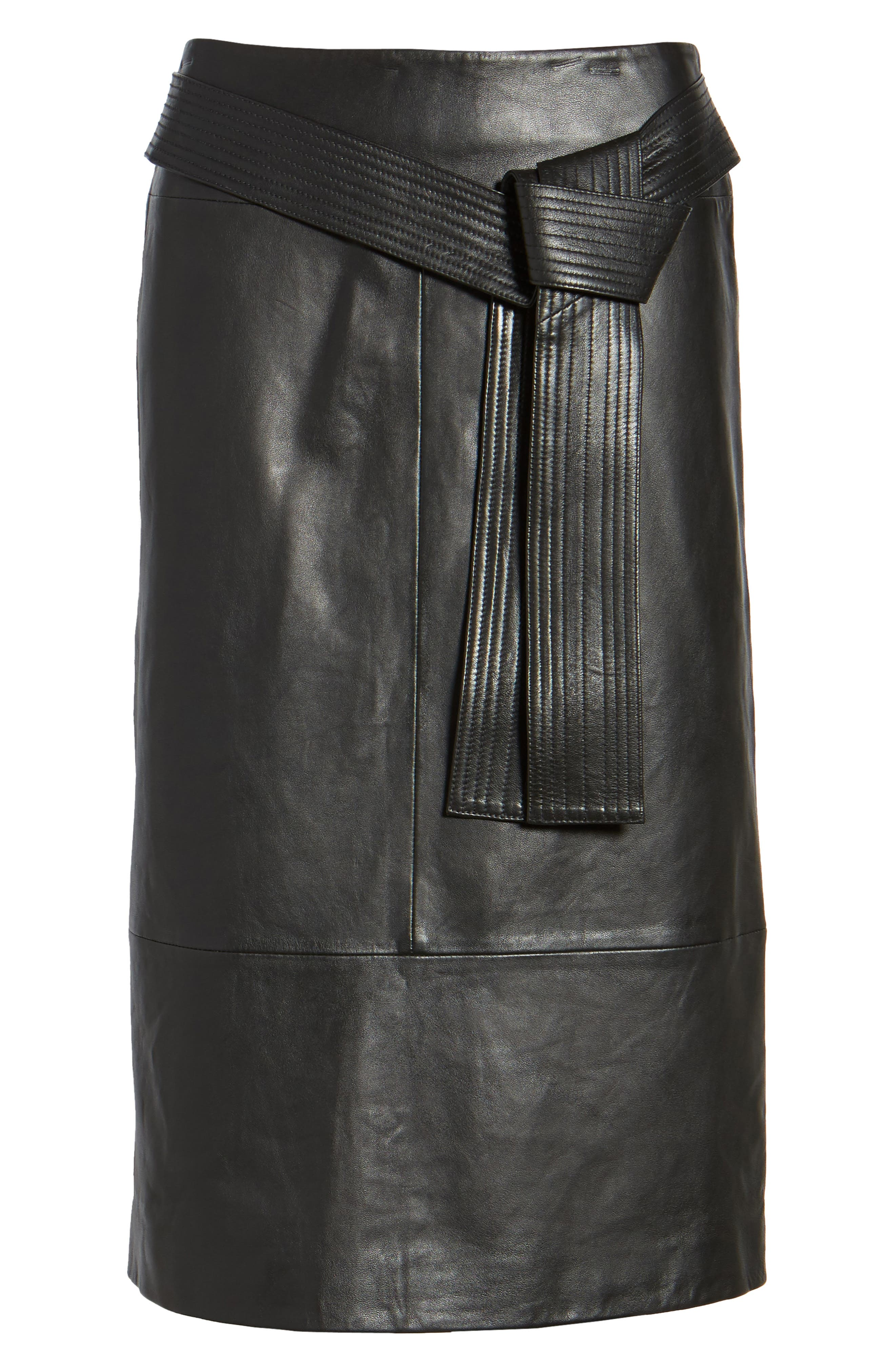 Belted Leather Skirt,                             Alternate thumbnail 6, color,                             001