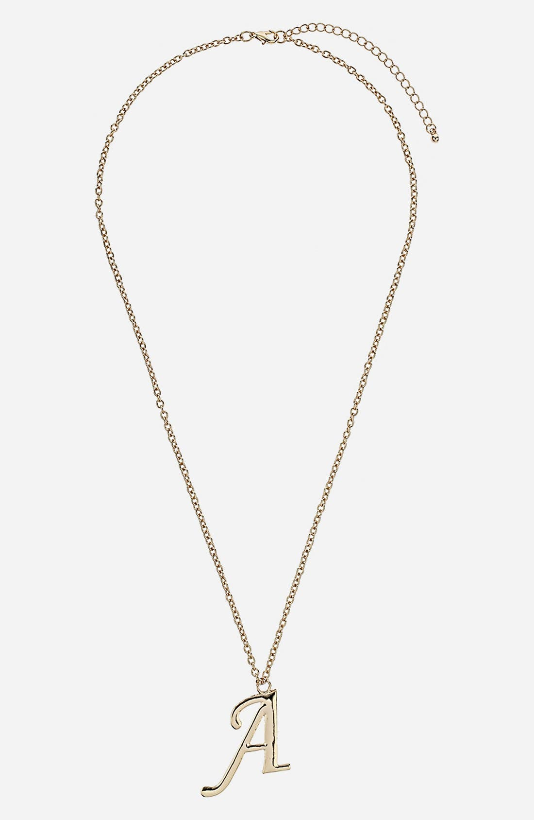 TOPSHOP,                             Initial Pendant Necklace,                             Main thumbnail 1, color,                             710