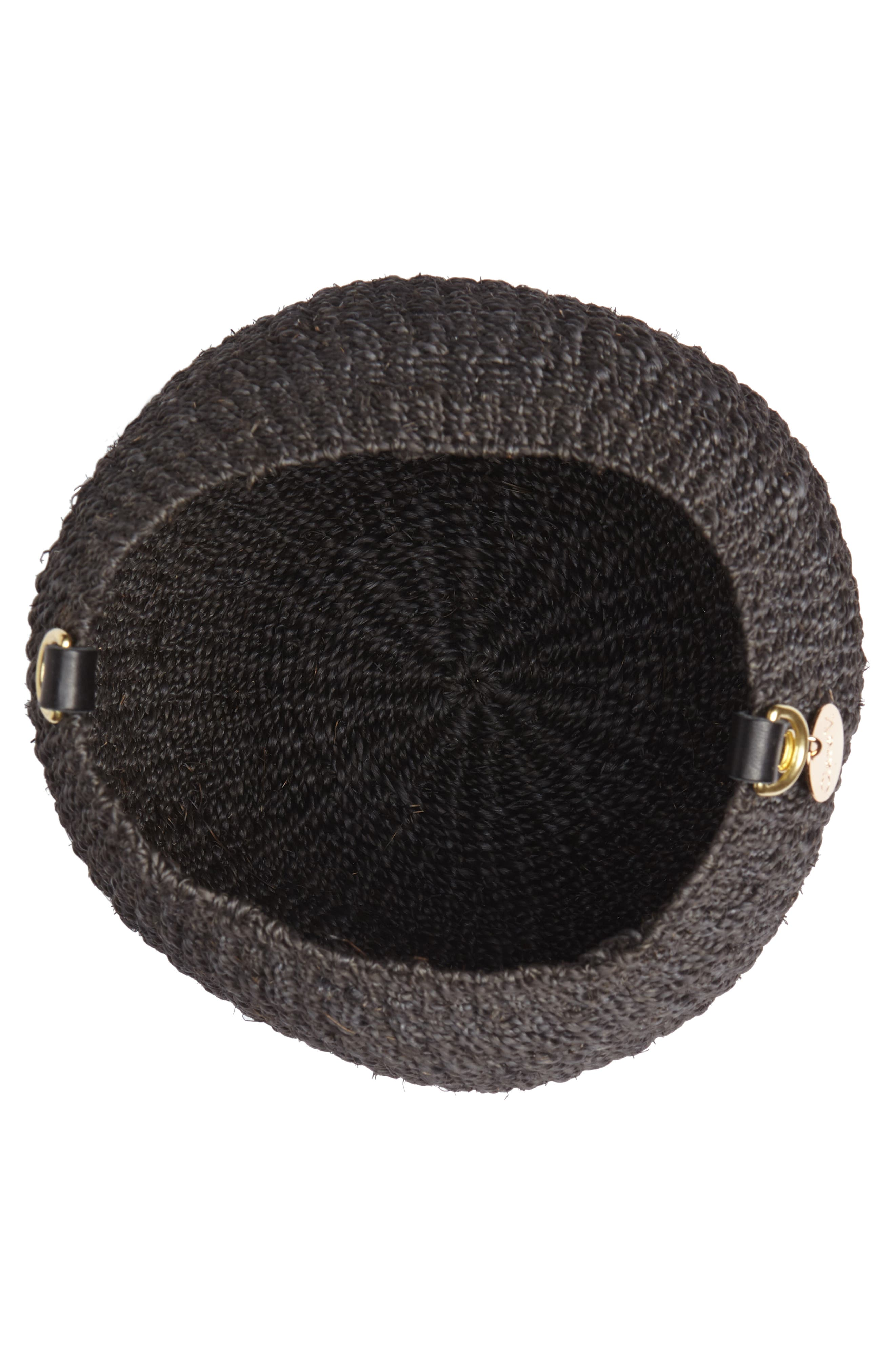 Pot de Miel Top Handle Straw Basket Bag,                             Alternate thumbnail 5, color,                             001